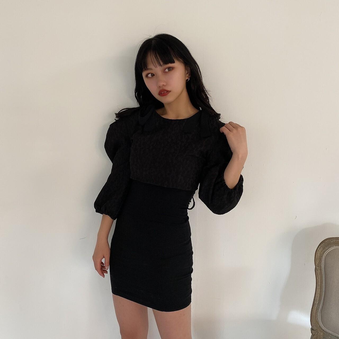 【Belle】LAST2 ribbon camisole onepiece / black