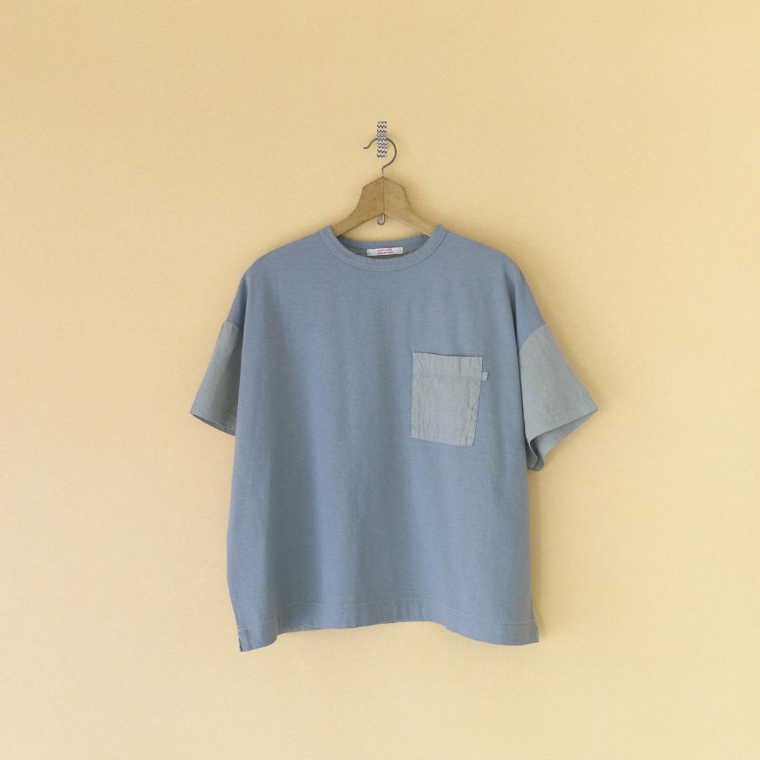 Fabrique en planete terre ファブリケアンプラネテール コンビネーションショートスリーブTシャツ・ブルーグレイ