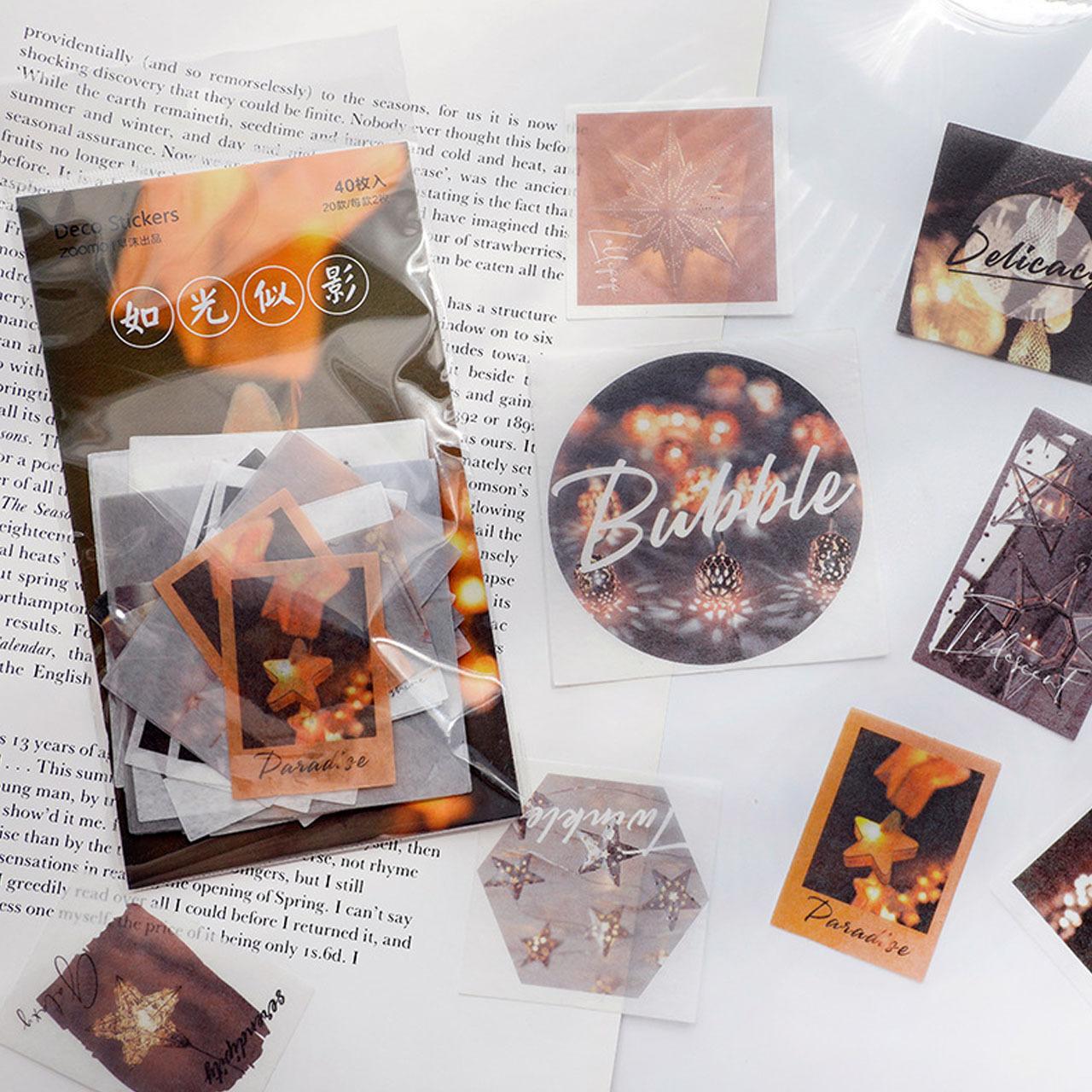 風景画 インスタ風 ステッカー 全8種 シール 絵画 月 星 光 花 デザイン 海外製 ほぼ日手帳 コラージュ 手帳 C12