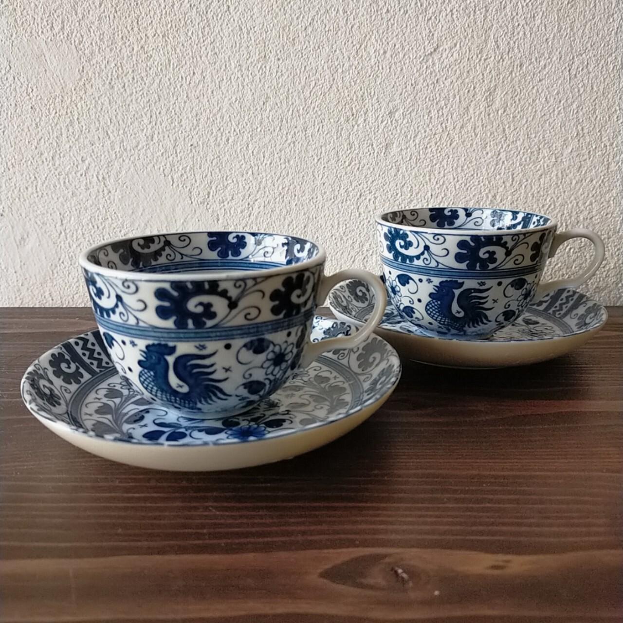 VINTAGE 鶏のカップ&ソーサー【戦後】