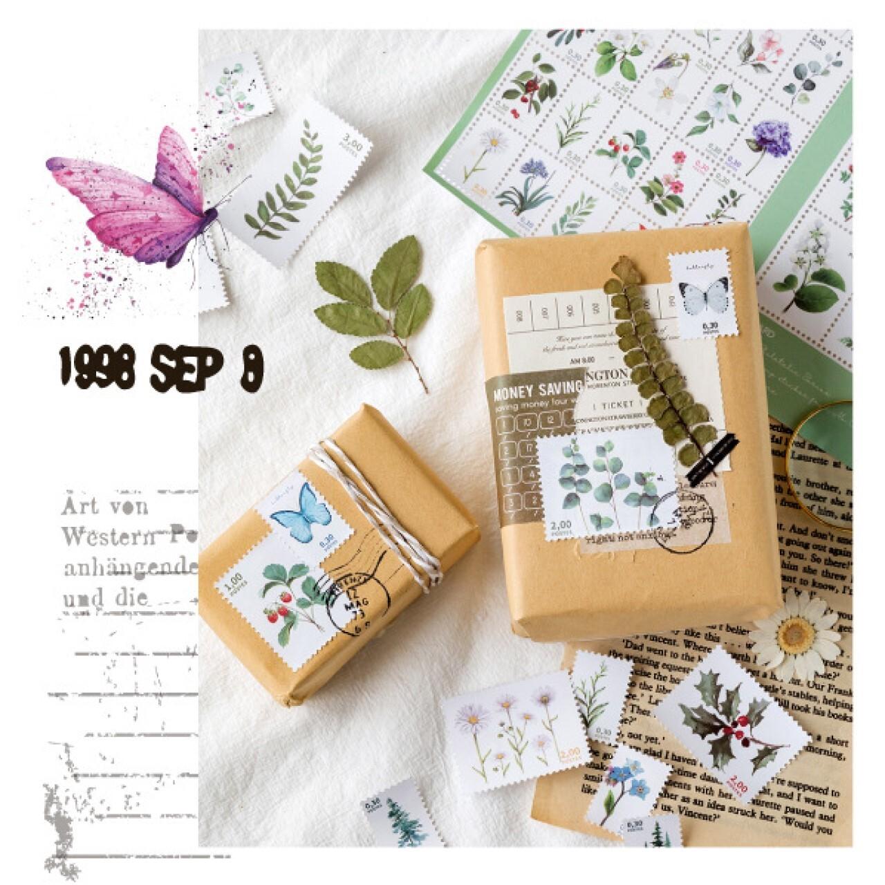 D17 切手モチーフ ステッカー 全8種 スタンプ シール 植物 野鳥 蝶 ボタニカル きのこ コラージュ ジャンクナーナル