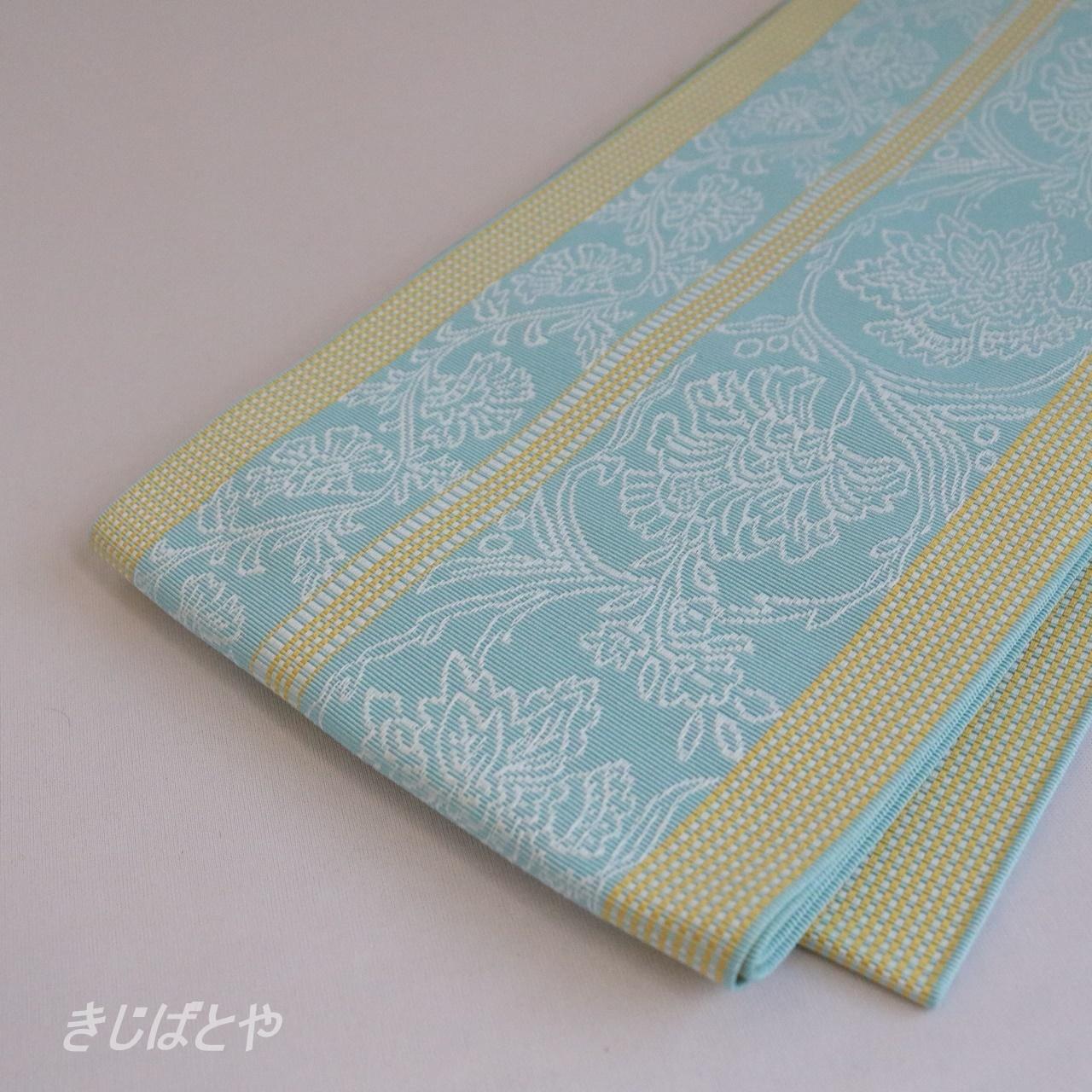 正絹博多織 更紗柄の半幅帯 砧青磁