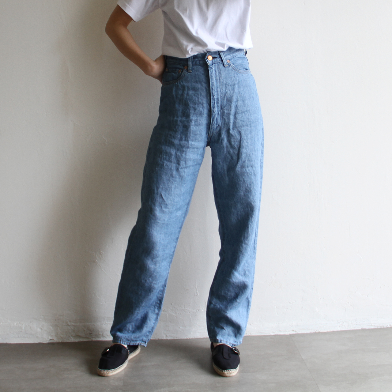 YOUNG&OLSEN  【 womens 】30's lady linen jeans #bleach