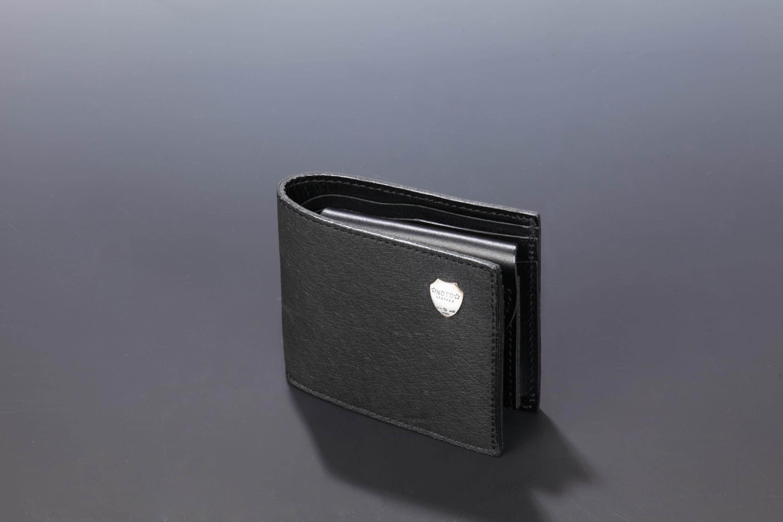 【国産イノシシ革】2つ折りウォレット(Black)【NOTO Leather使用】