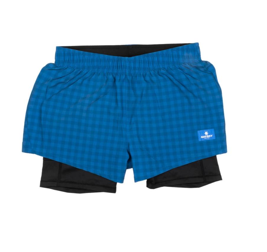 【30%OFF】SAYSKY セイスカイ ランニングショーツ Wmns Checker 2 In 1 Shorts - BLUE CHECKERBOARD [レディーズ] FGRSH01