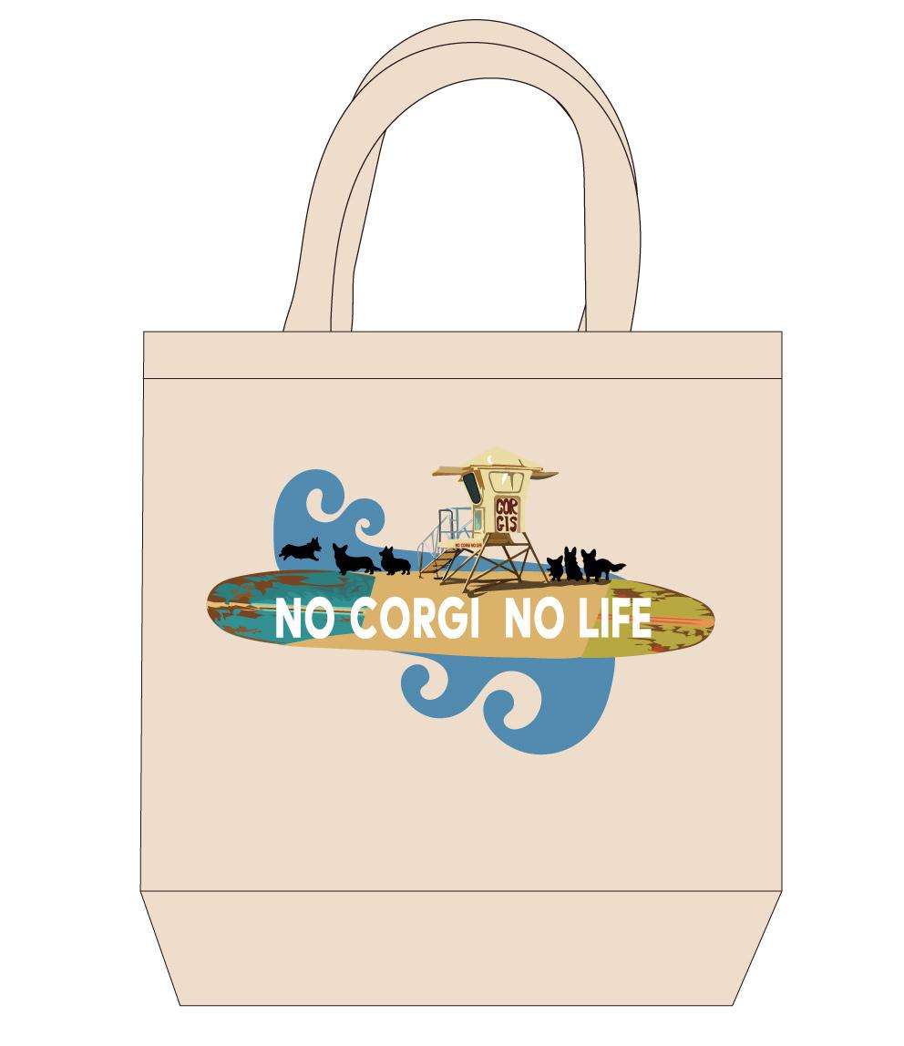 No.2020-surf-tote0001  : サーフィンシリーズ No corgi No life トートバッグMサイズ