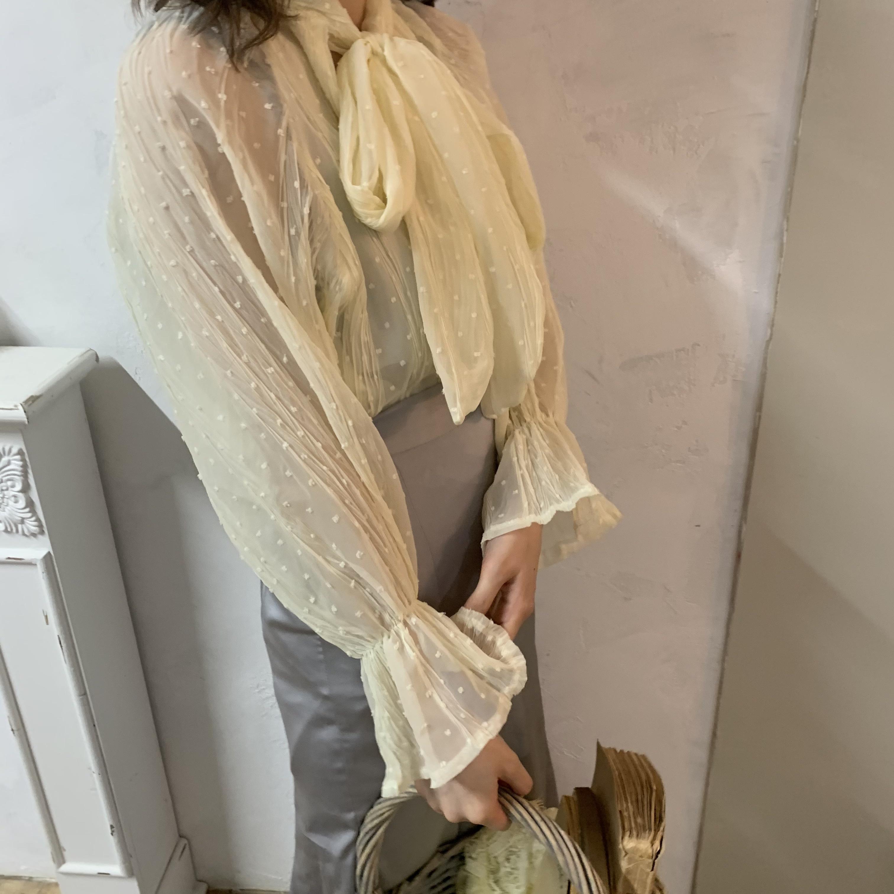 【LAST2】see through ribbon blouse