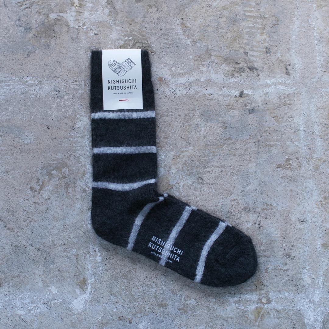 NISHIGUCHI KUTSUSHITA 西口靴下 モヘアウールボーダーソックス / MOHAIR WOOL BORDER SOCKS