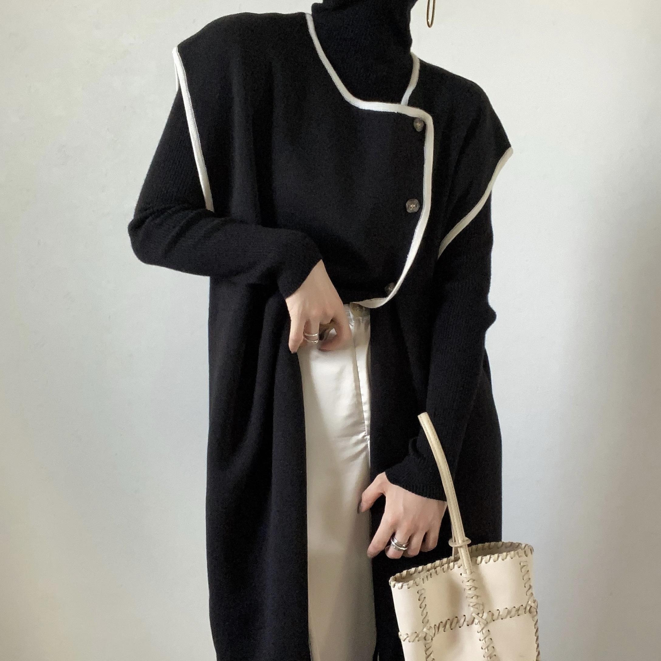 piping long gilet vest/black