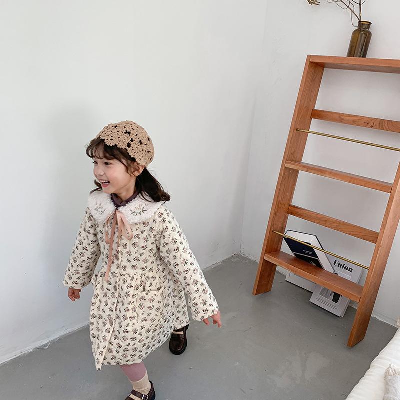 【即納】ボリューム花柄コットンワンピース