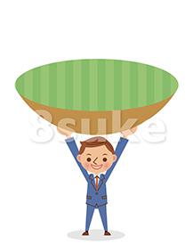 イラスト素材:ビジネスマンの支えるイメージ(ベクター・JPG)