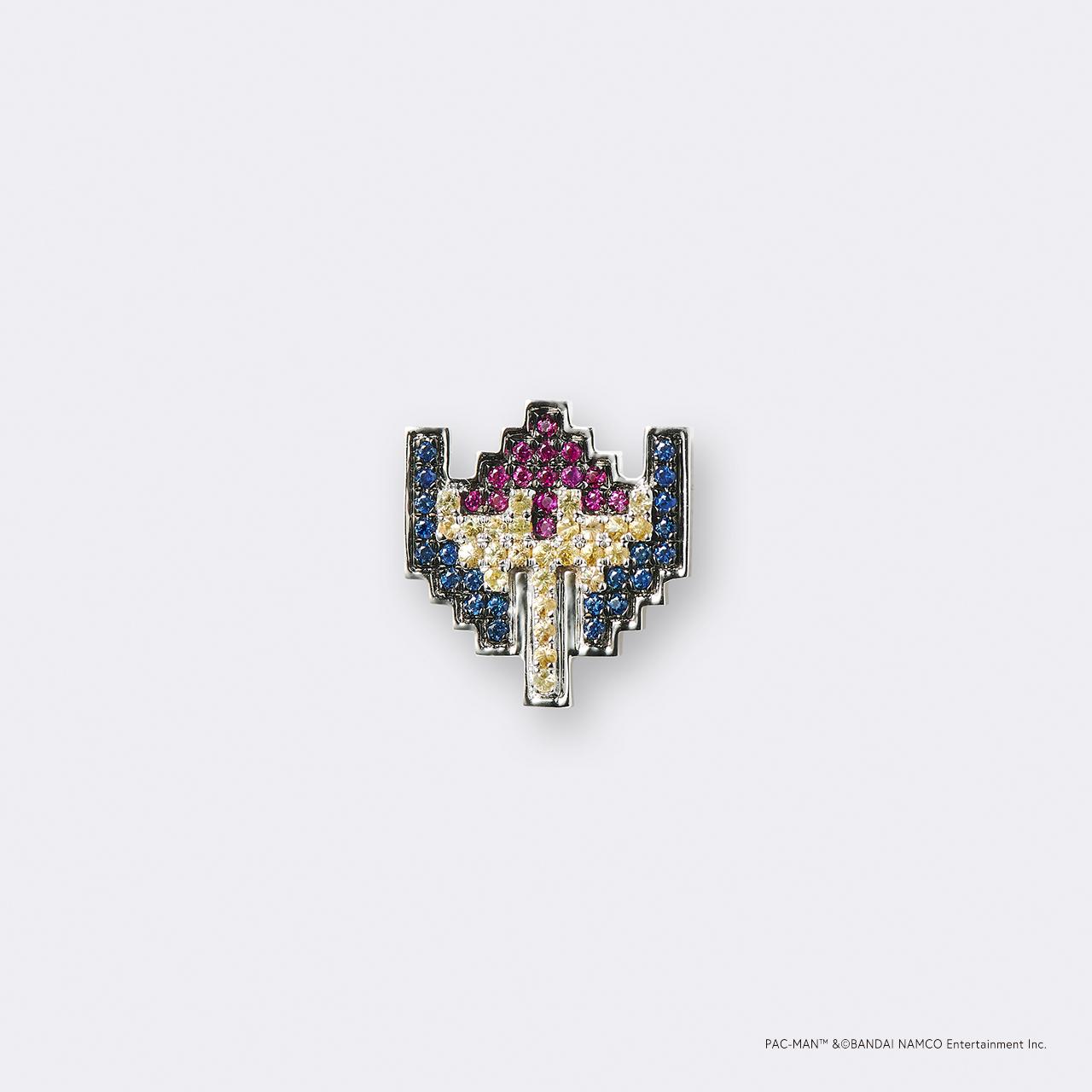 PAC-MAN  (パックマン) K18WG・ボーナスキャラ ギャラクシアン/ブルーサファイア ルビー イエローサファイア ピンバッジ