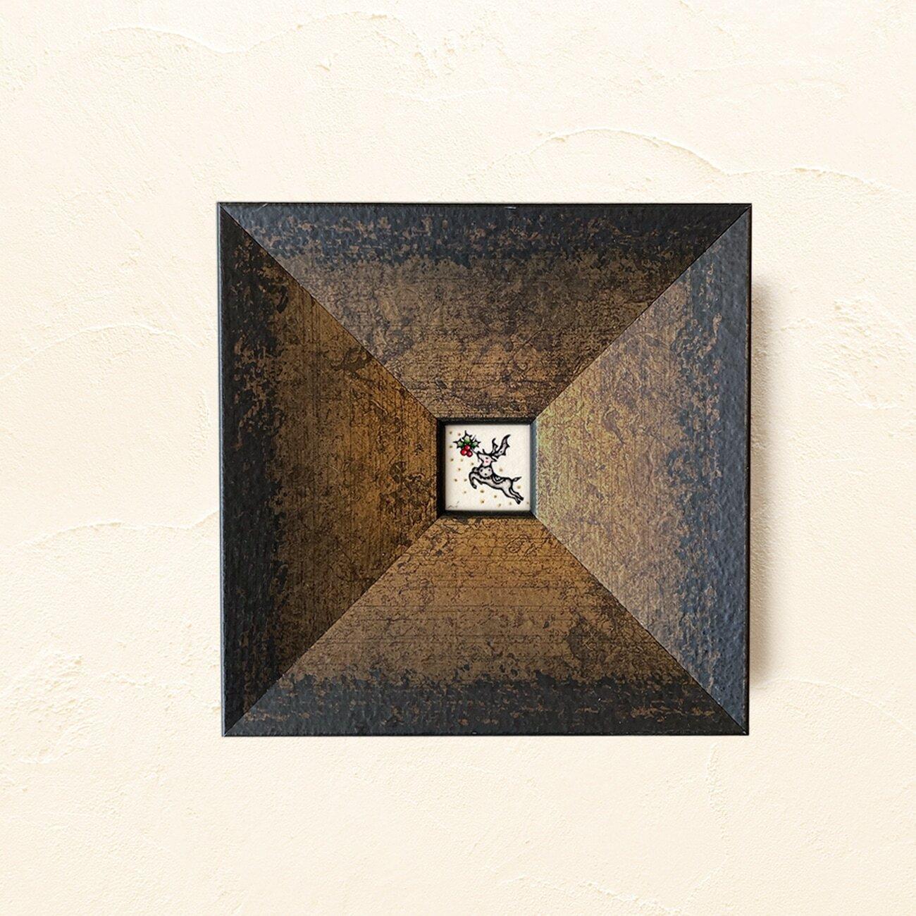 ミニ額縁 原画【 白銀の世界に、紅を点す 】ブラックxゴールド・ブラックxシルバー frame