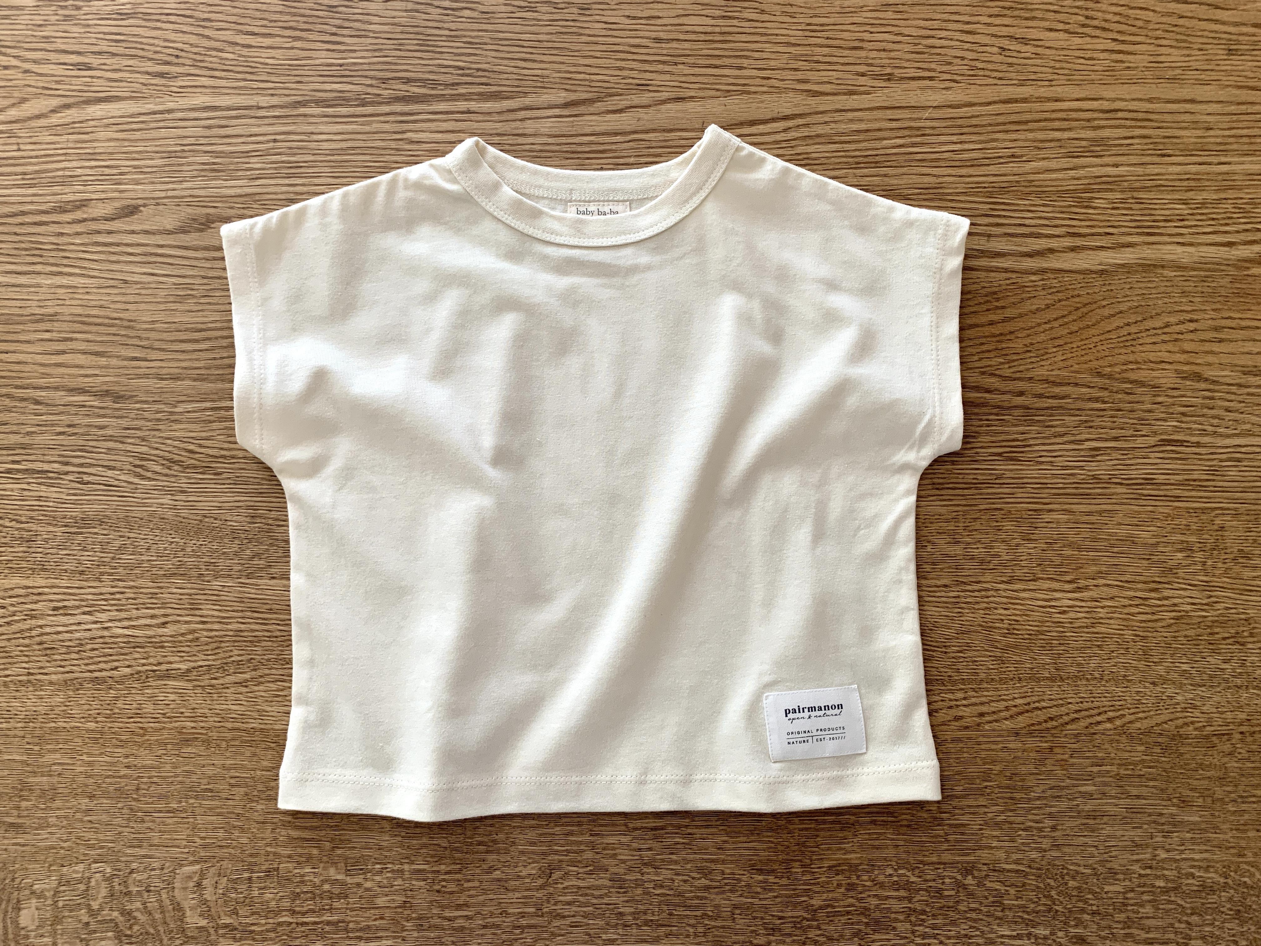 オフスリーブTシャツ・白 80cm