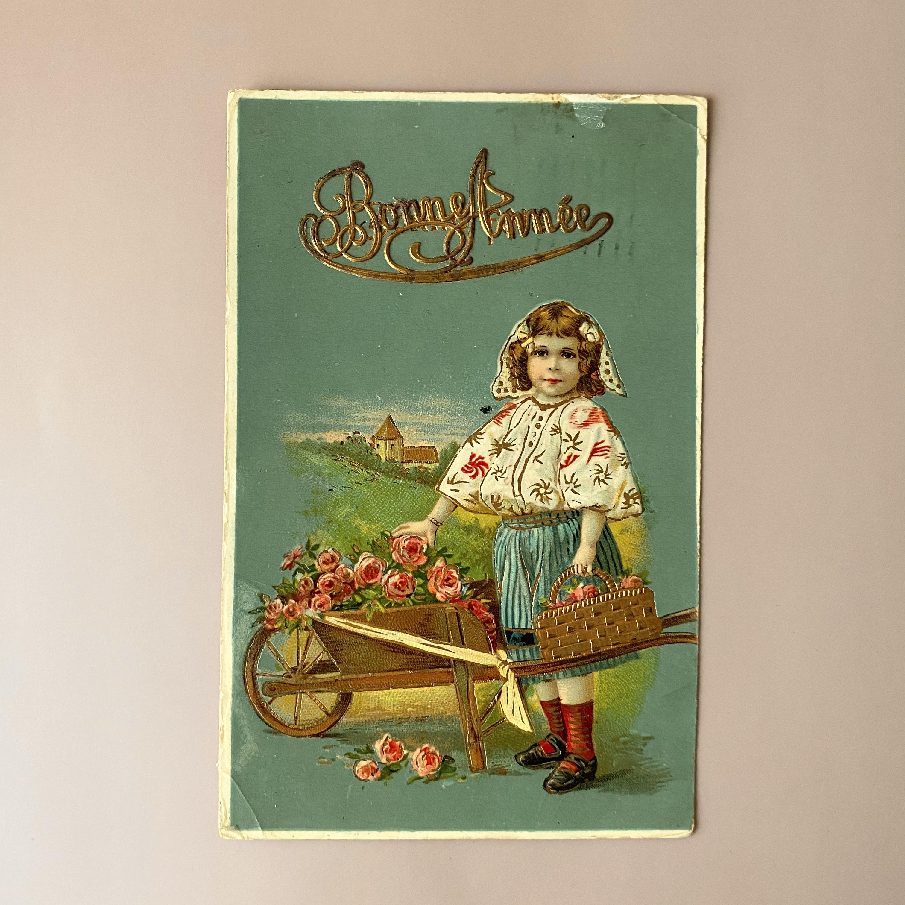 アンティーク Panier de fleurs ポストカード ・d  /  vp0238