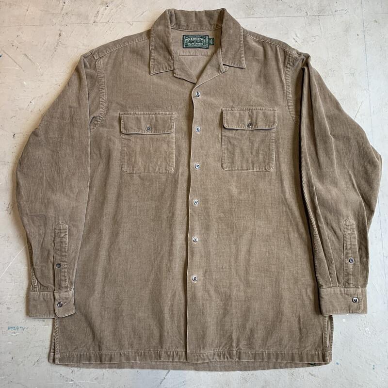 80's 90's POLO COUNTRY ポロカントリー コーデュロイワークシャツ オープンカラー ブラウン RRL 美品 MEDIUM 希少 ヴィンテージ BA-1304 RM1673H