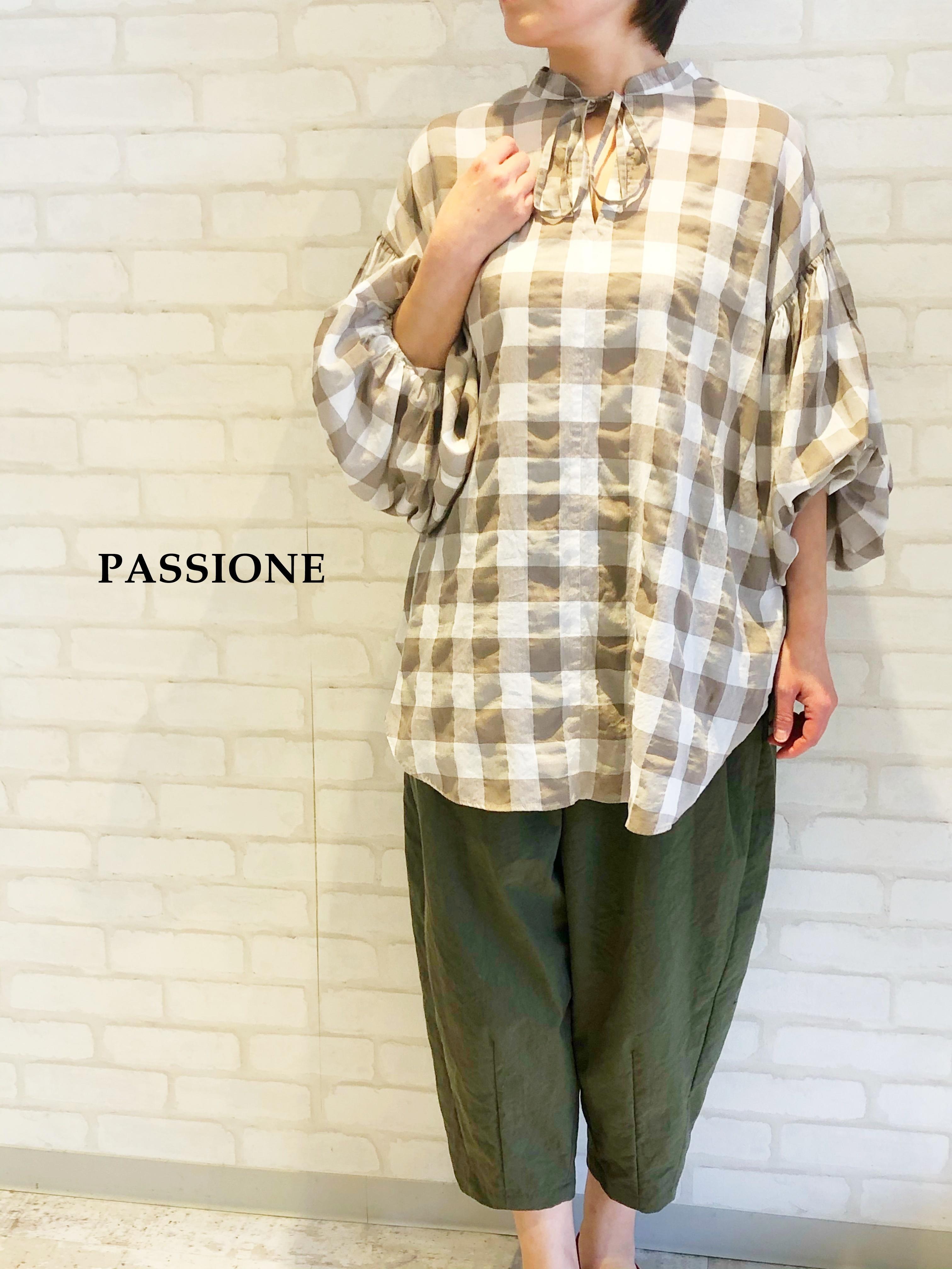【再入荷】PASSIONE/ブロックチェック柄ブラウス/126951(ベージュ)