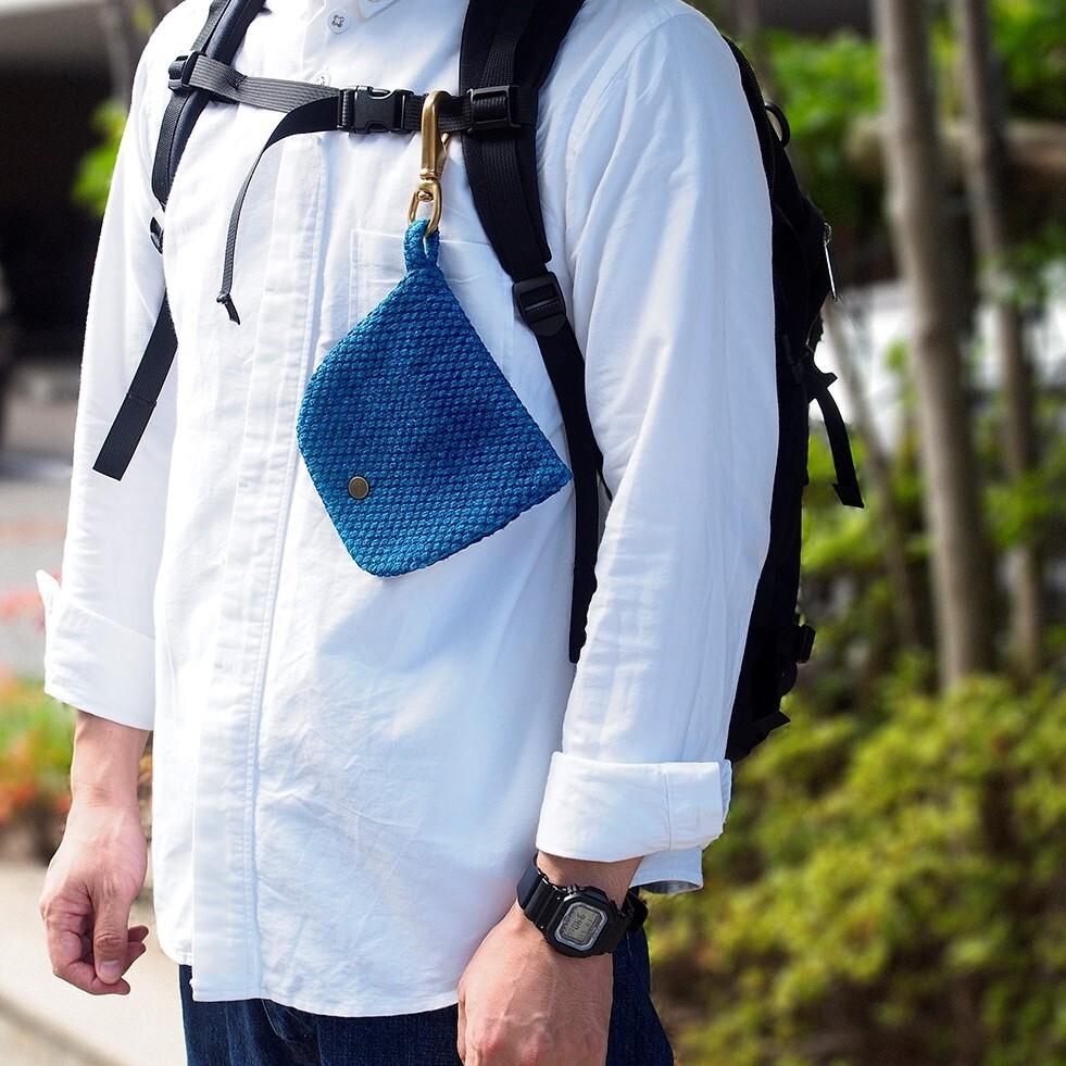 うしじま縫製 | 武州正藍染 マスクケース ナスカン付き 二重刺子