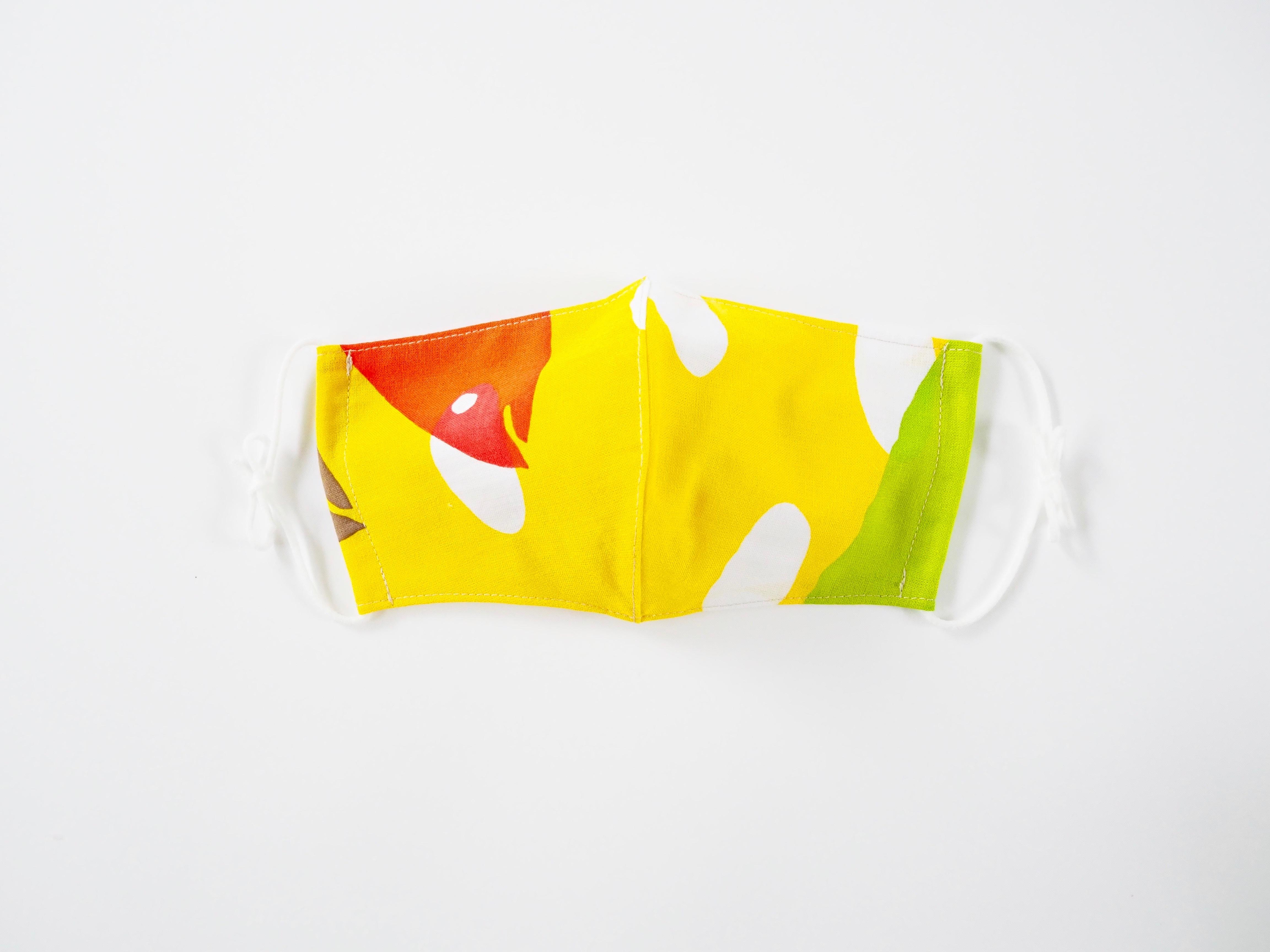 ケイコロール  大人マスク 「飛び石とニシンの黄」 立体仕立て ダブルガーゼ仕様