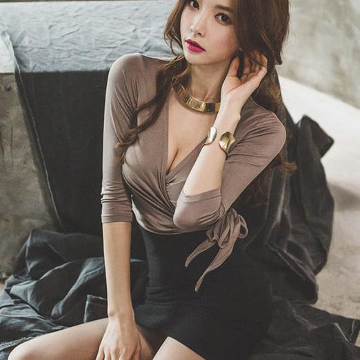 セクシー 谷間魅力 指名 着痩せ ミニドレス キャバドレス MY2094