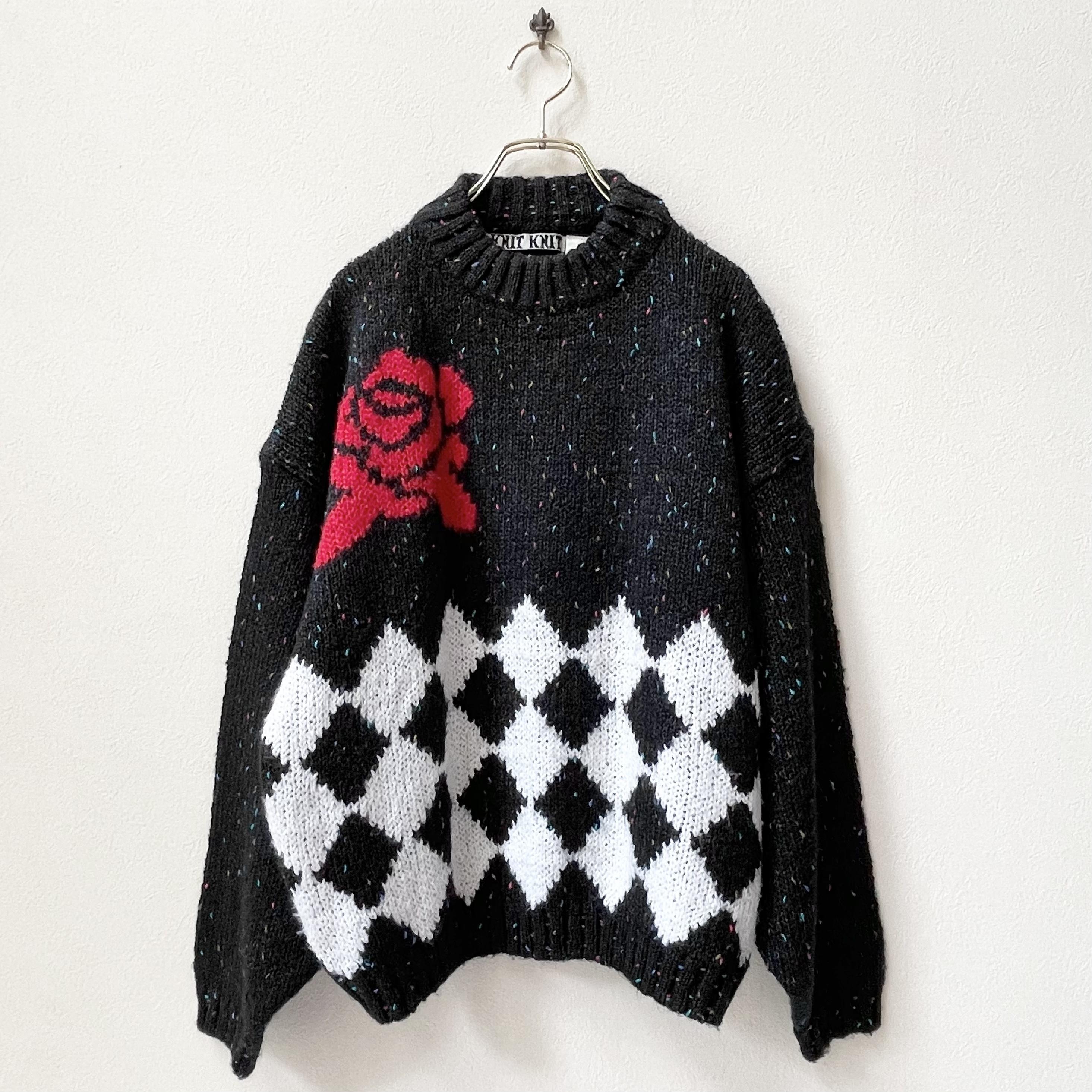 レディース 80年代 ローズ柄 ネップ セーター アメリカ古着 日本L