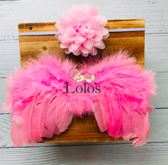 ピンクの天使の羽&お花ヘッドバンドset