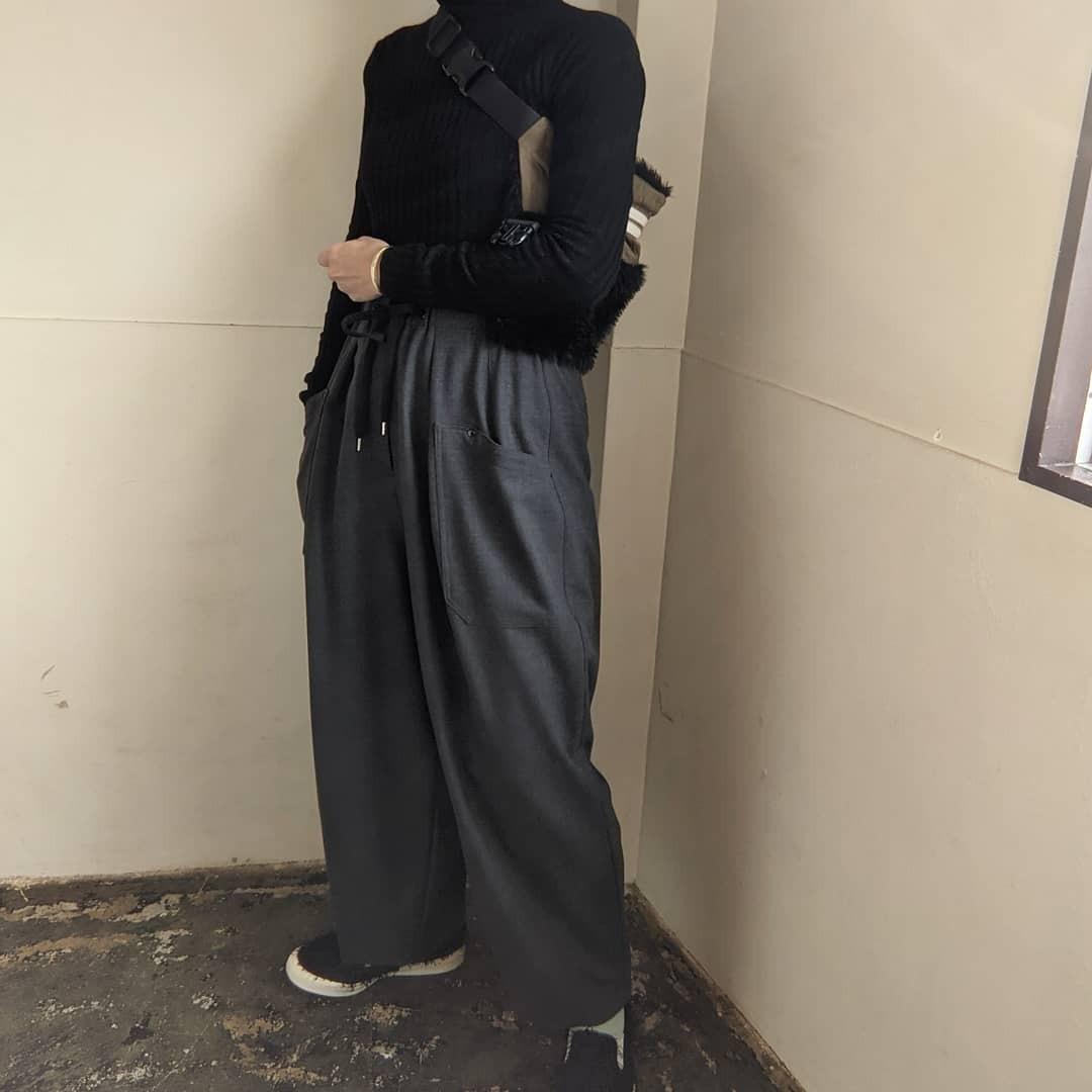 【 OTOÄA 】オトア SAXONY WIDE BALLOON PANTS/ ワイドバルーンパンツ SIZE2 / CHACOAL