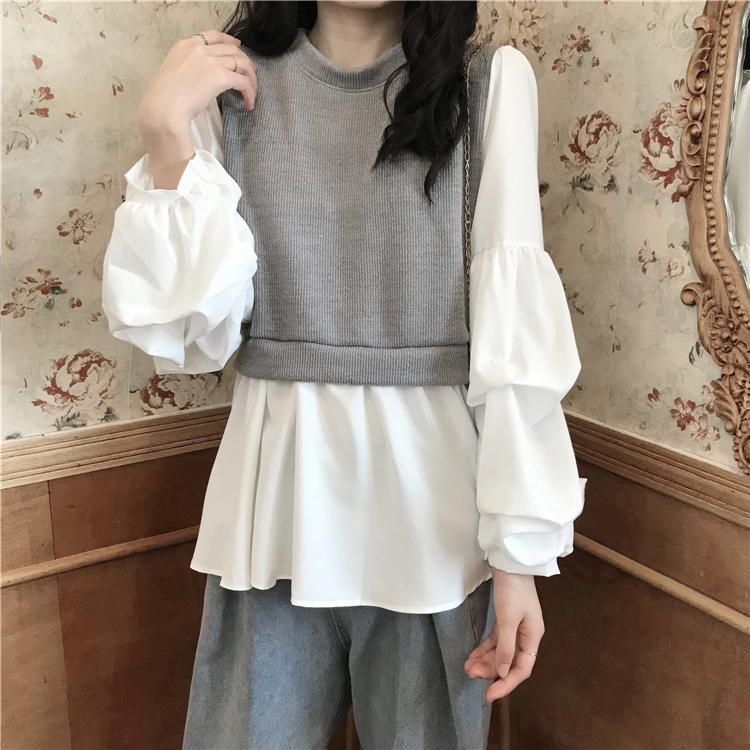 〈カフェシリーズ〉レイヤードパフスリーブシャツ【layered puff sleeve shirt】