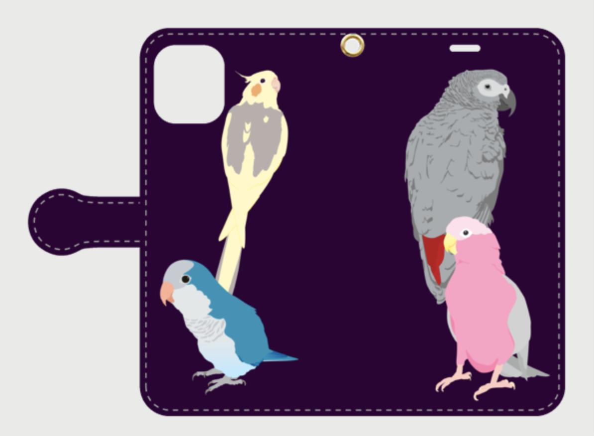 iPhone手帳型ケース ヨウム モモイロインコ オキナインコ オカメインコ【各機種対応】