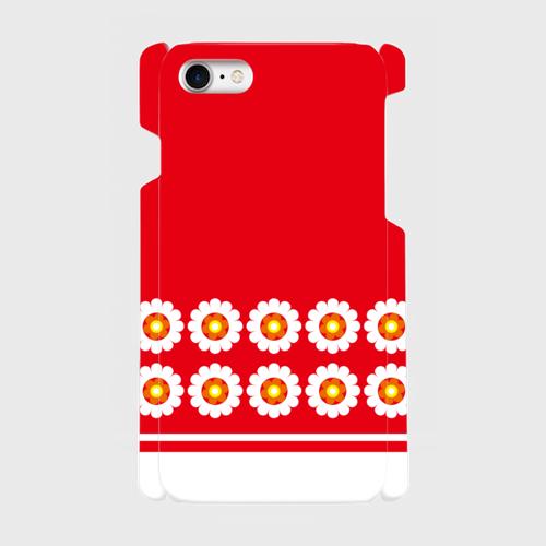 パターン花柄(赤)/ iPhoneスマホケース(ハードケース)