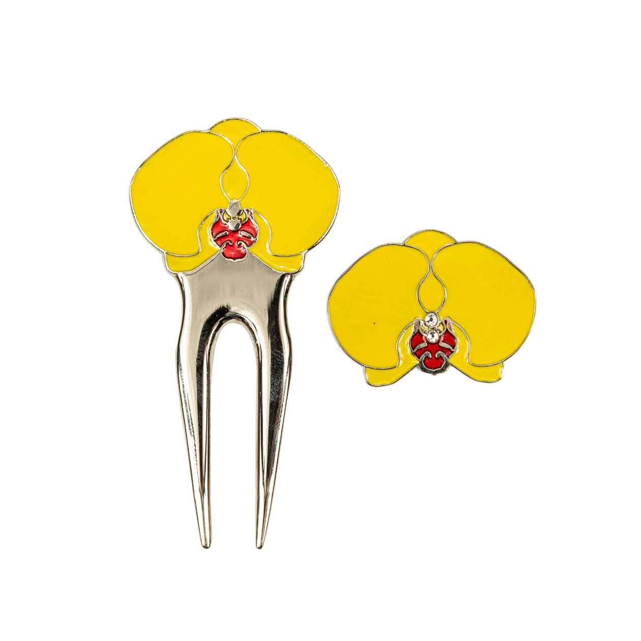 248. Orchid Yellow Divot Tool & Ball Marker Set
