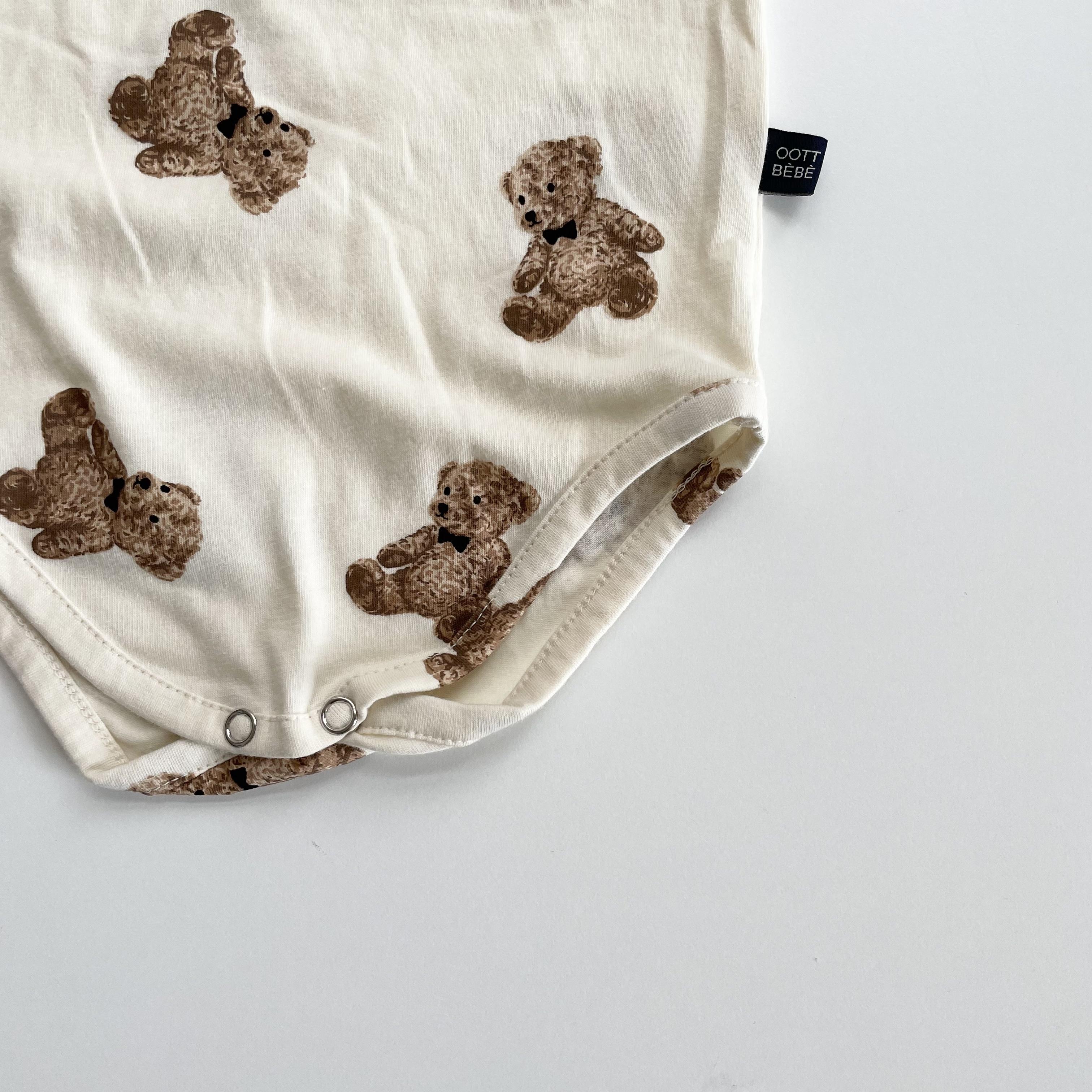 NO.1424. bear  rompers + bonnet / OOTT bebe