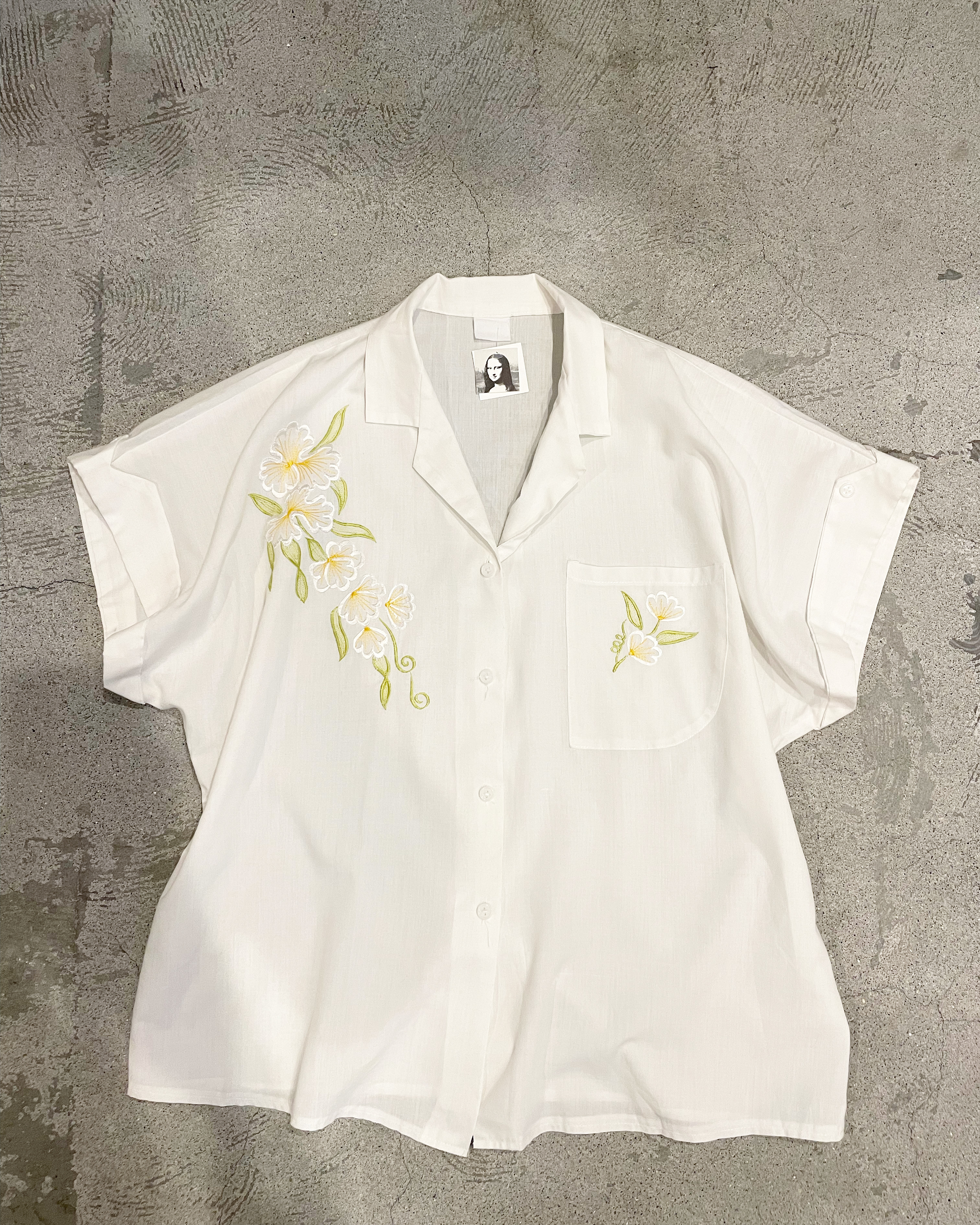 vintage embroidery open collar blouse