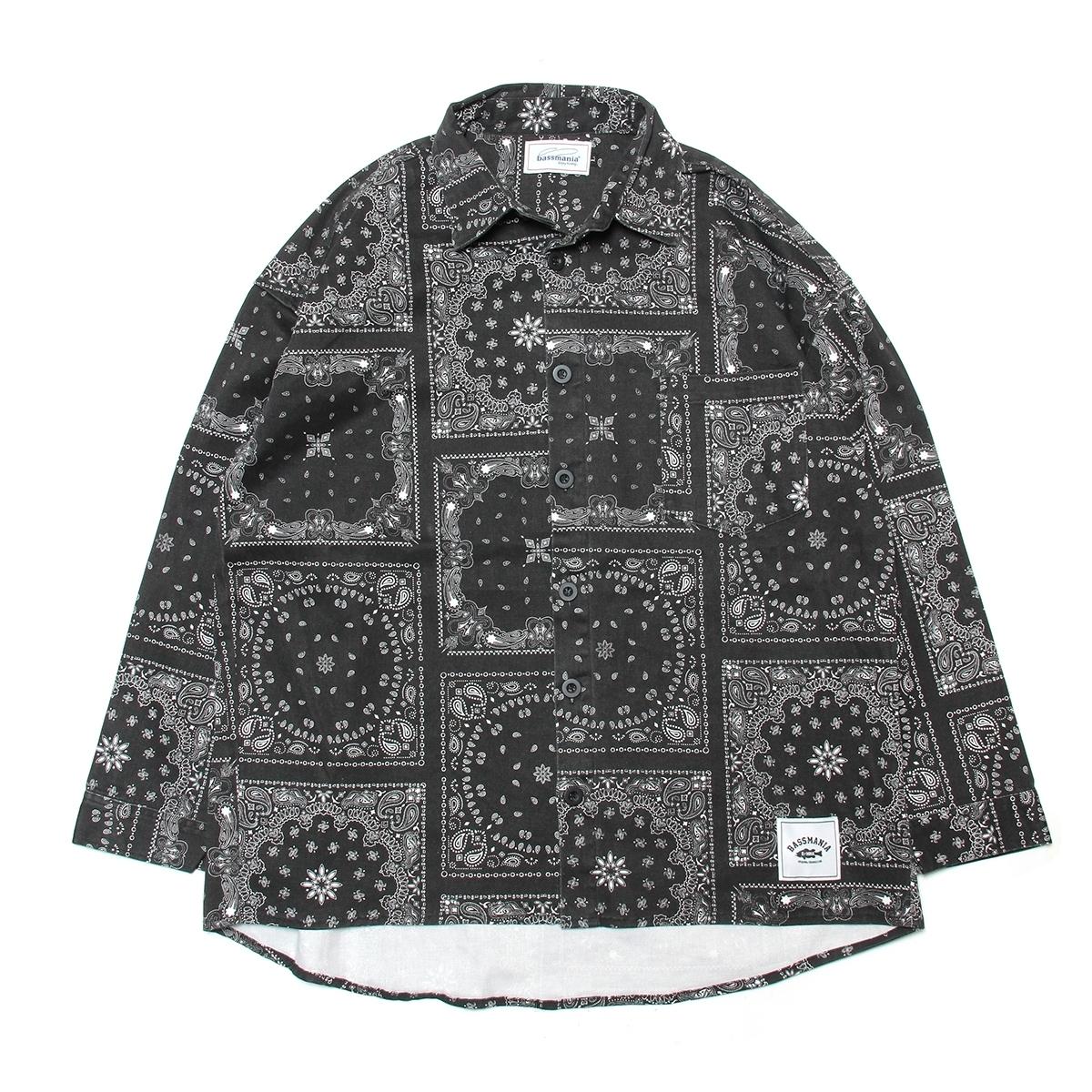 ペイズリーリメイクプリントオーバーシャツ [BLK]