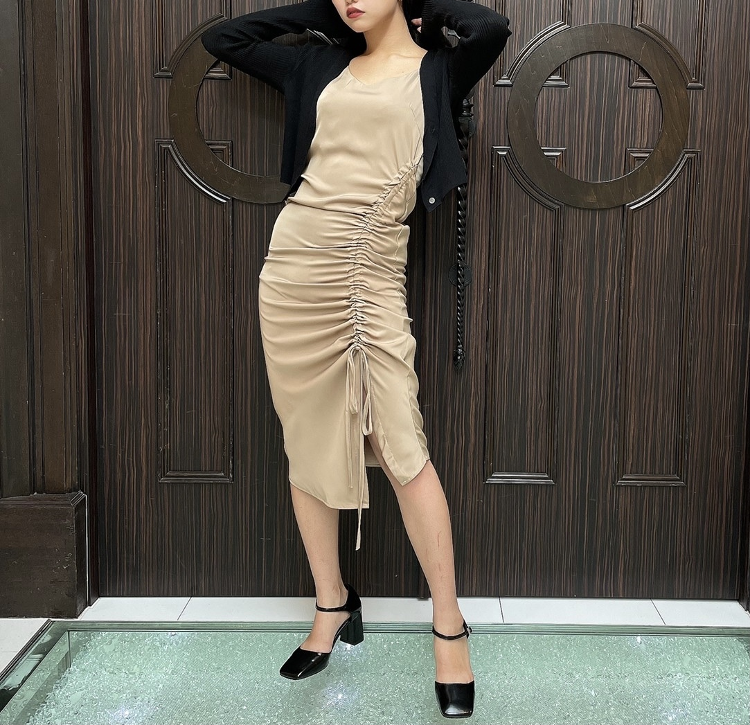 【Belle】shirring long camisole onepiece / beige