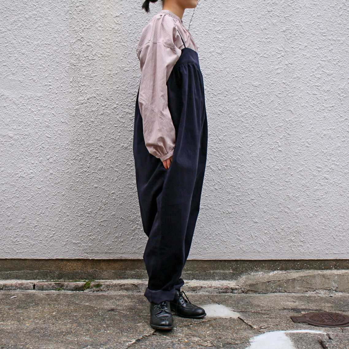 TENNE HANDCRAFTED MODERN/テン・ハンドクラフティッド・モダン Shirring All-In-One #2021-008 Navy