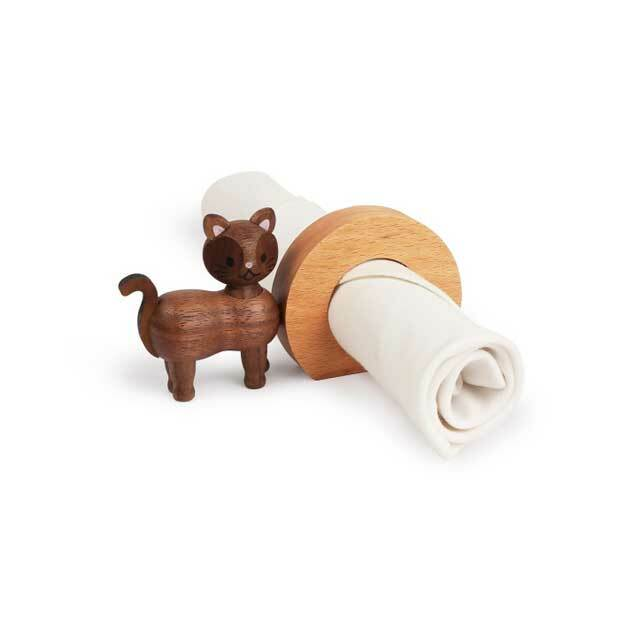 木製 猫のナプキンリング D