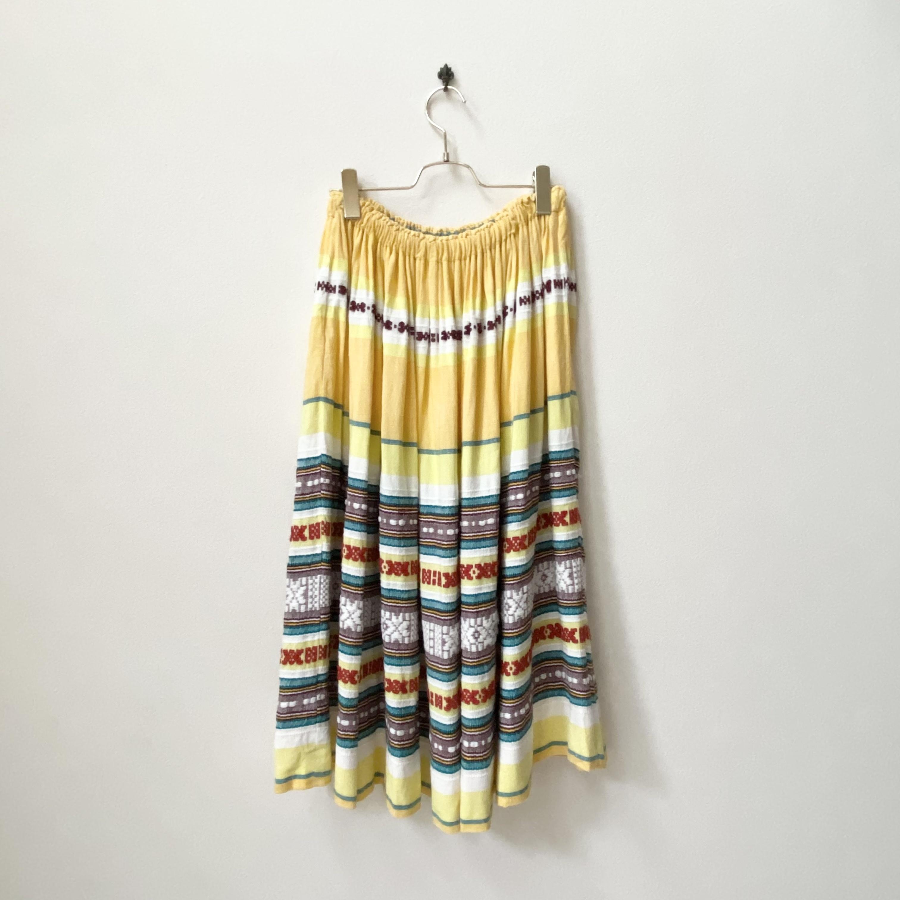 レディース 60年代 USA製 ヴィンテージ ハンドメイド刺繍 ギャザースカート アメリカ 古着 イエロー 日本M〜L
