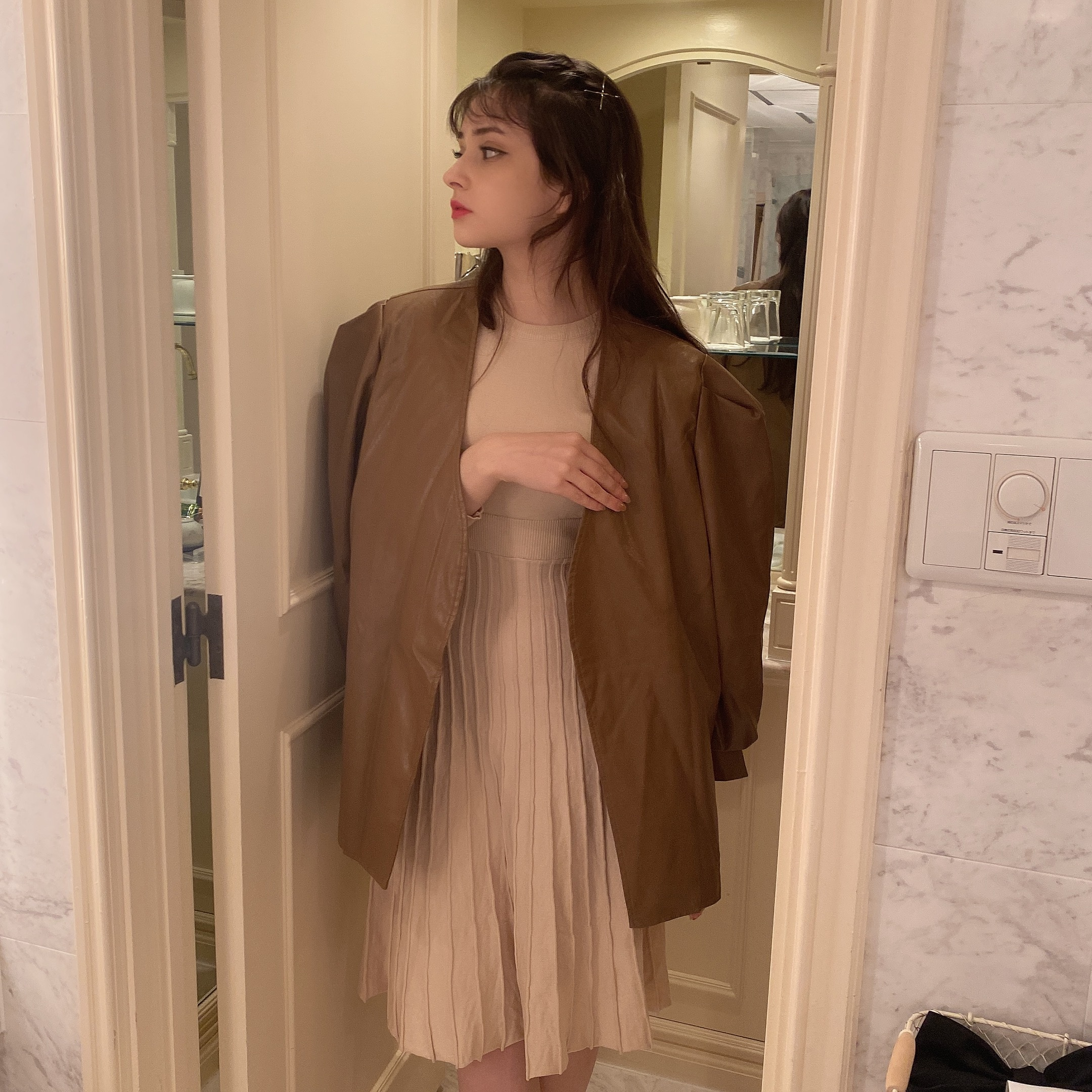 frill knit onepiece