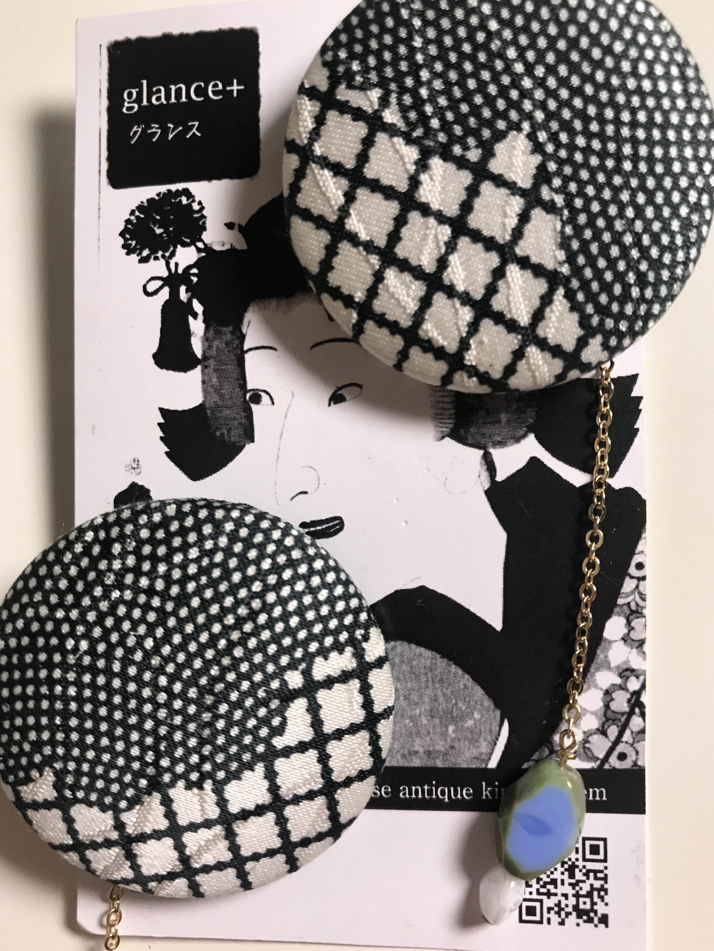 glance +  着物ピアス(アンテーク着物・市松模様)-18