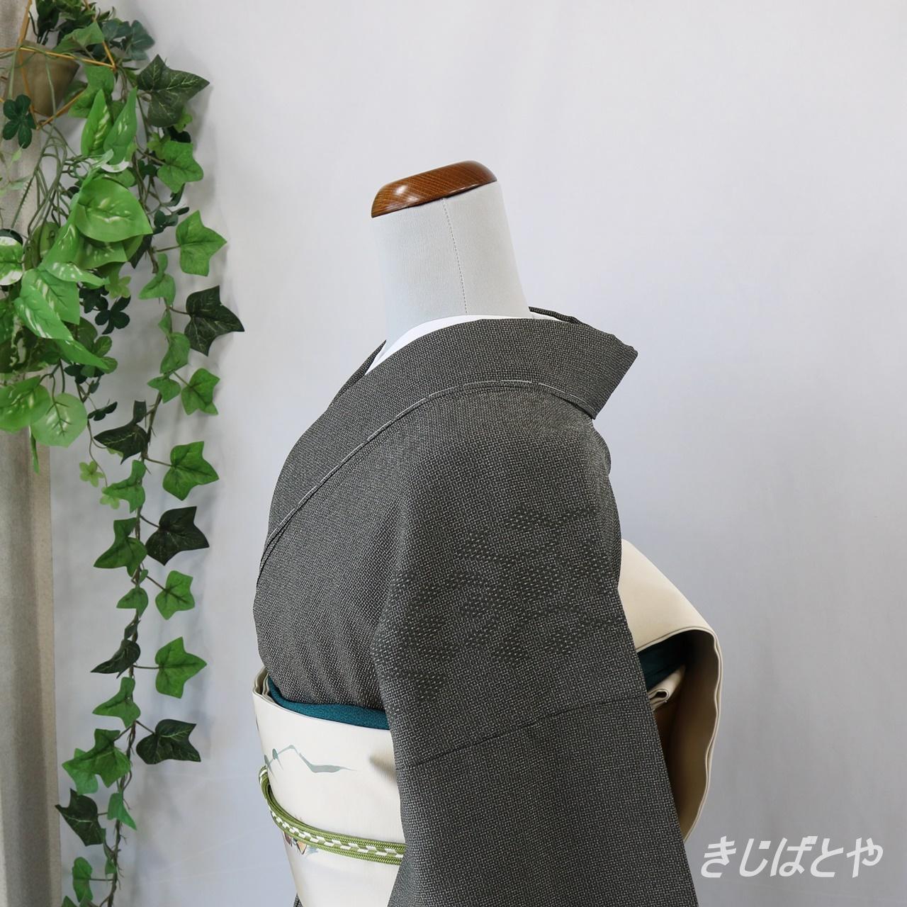 塩沢紬 鈍色の織り模様 袷
