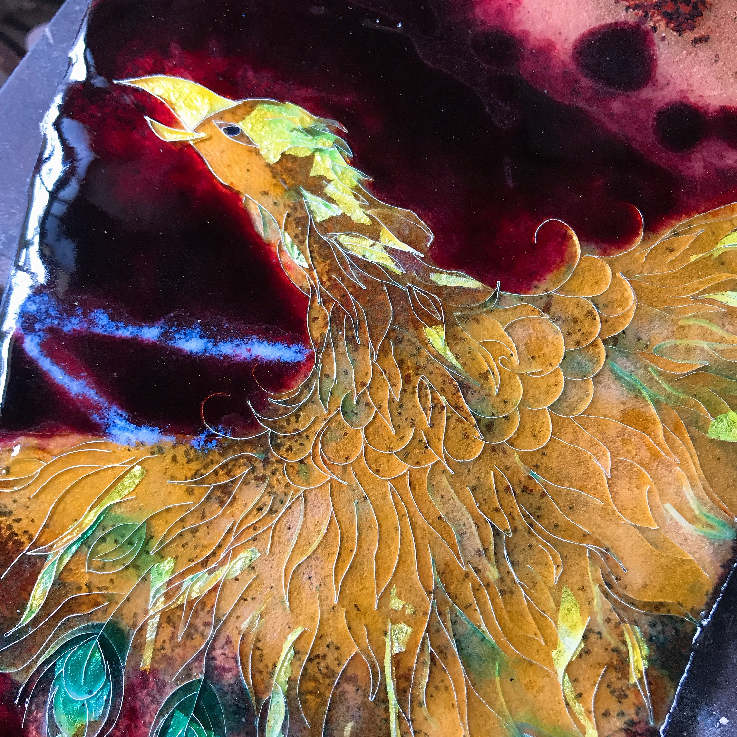 七宝変形平面作品 火の鳥