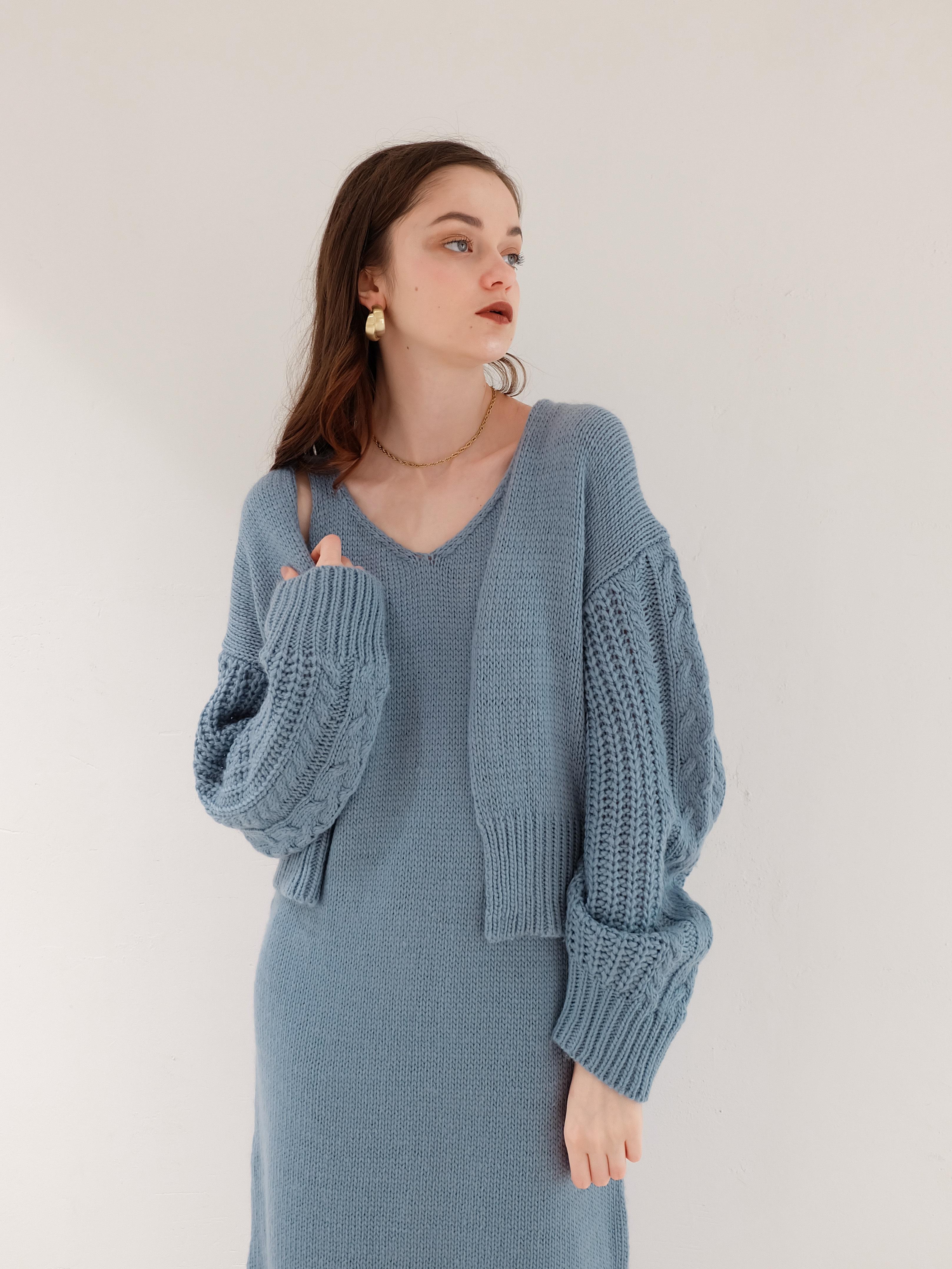knit cardigan one-piece setup(blue)