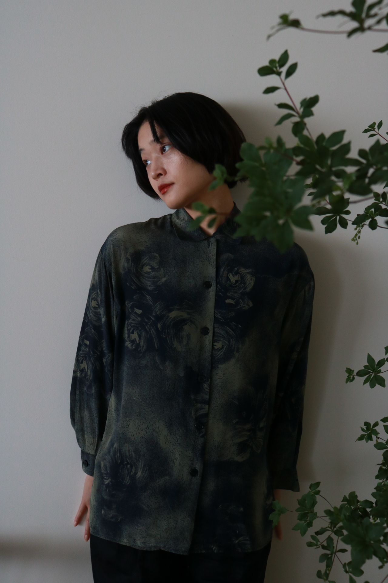 Vintage open collar silk shirt