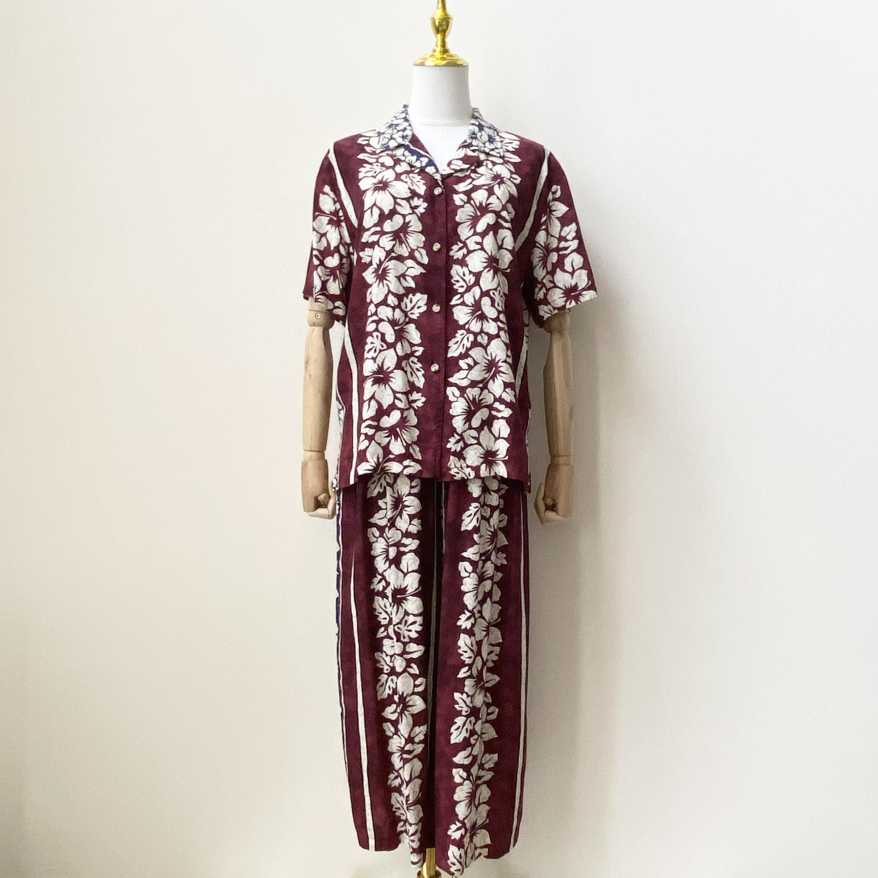 """レディース""""Tori Richird""""セットアップ アロハ柄 80年代 USA製 オープンカラーシャツ イージーパンツ アメリカ古着 レーヨン バーガンディ 日本L"""