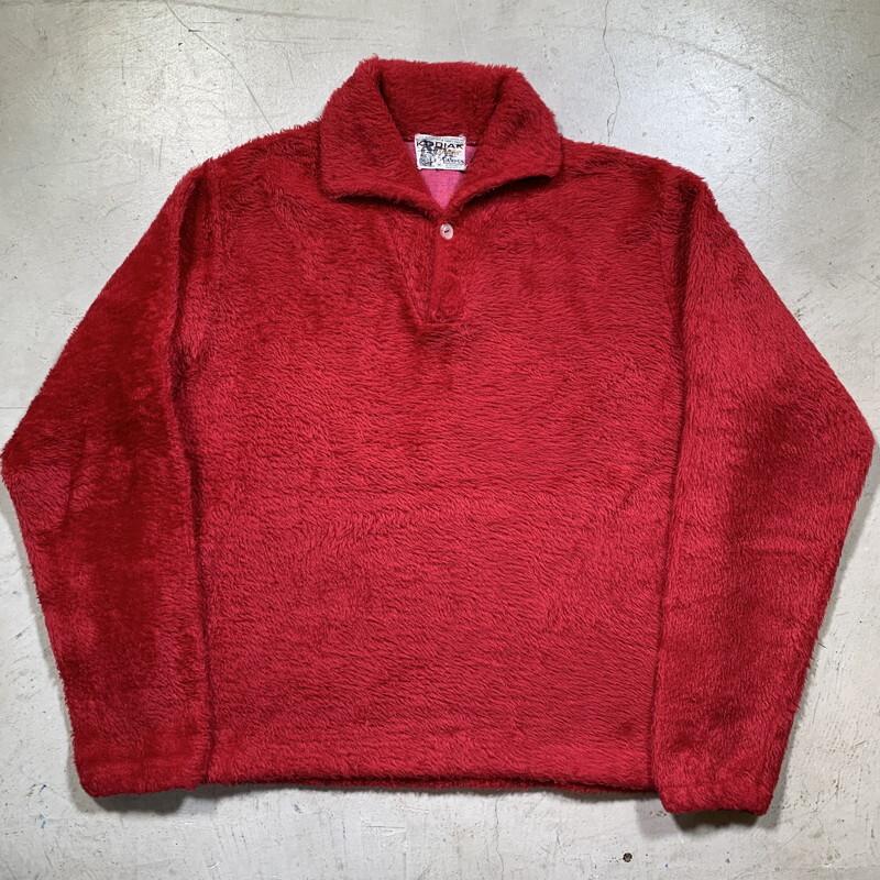 50's 60's KODIAK pullover by CAMPUS コディアック キャンパス フェイクファープルオーバーシャツ フリース レッド 赤 ソリッド Mサイズ USA製 希少 ヴィンテージ BA-1567 RM1986H