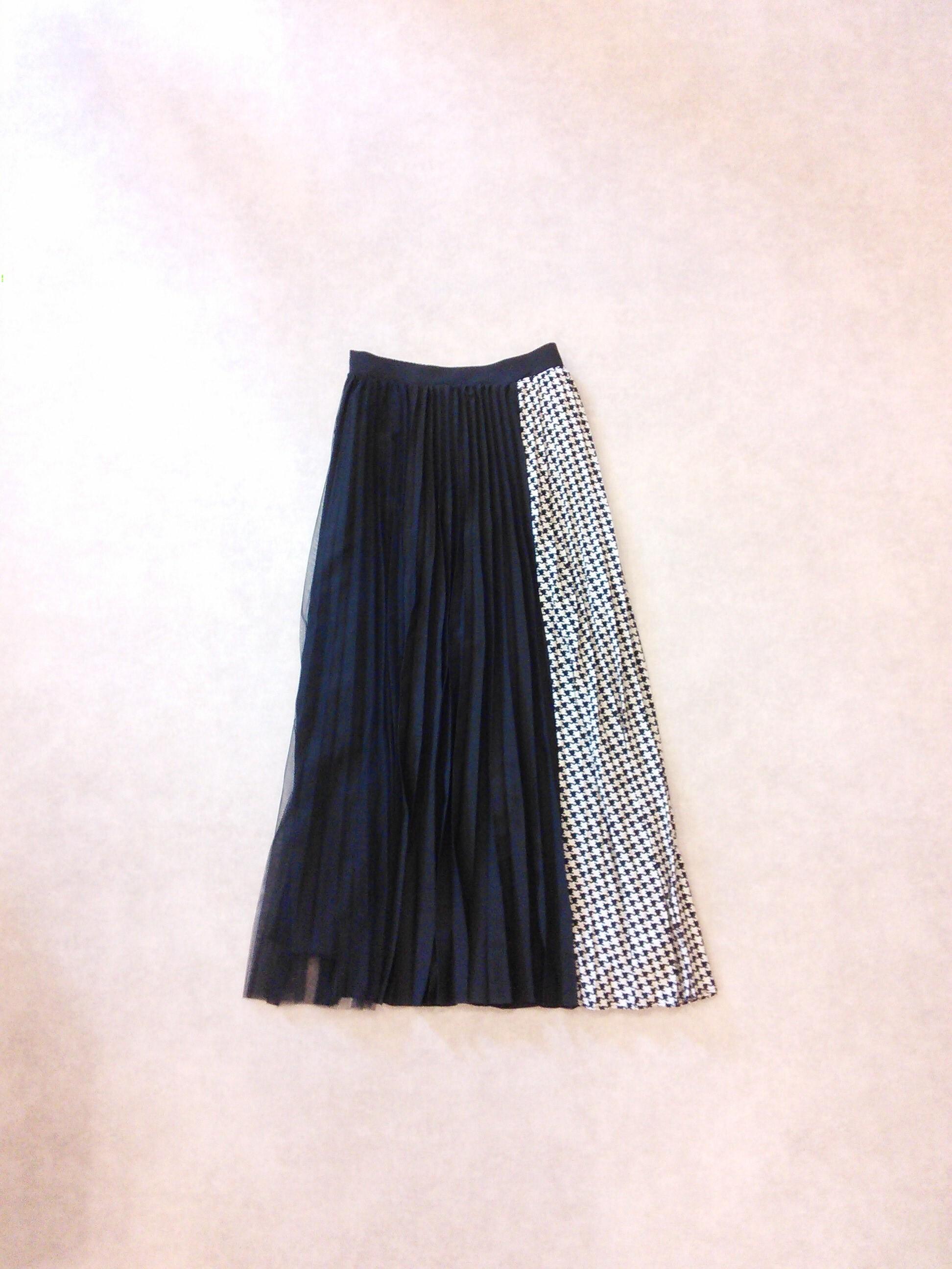 19211 千鳥格子チュール切り替えスカート