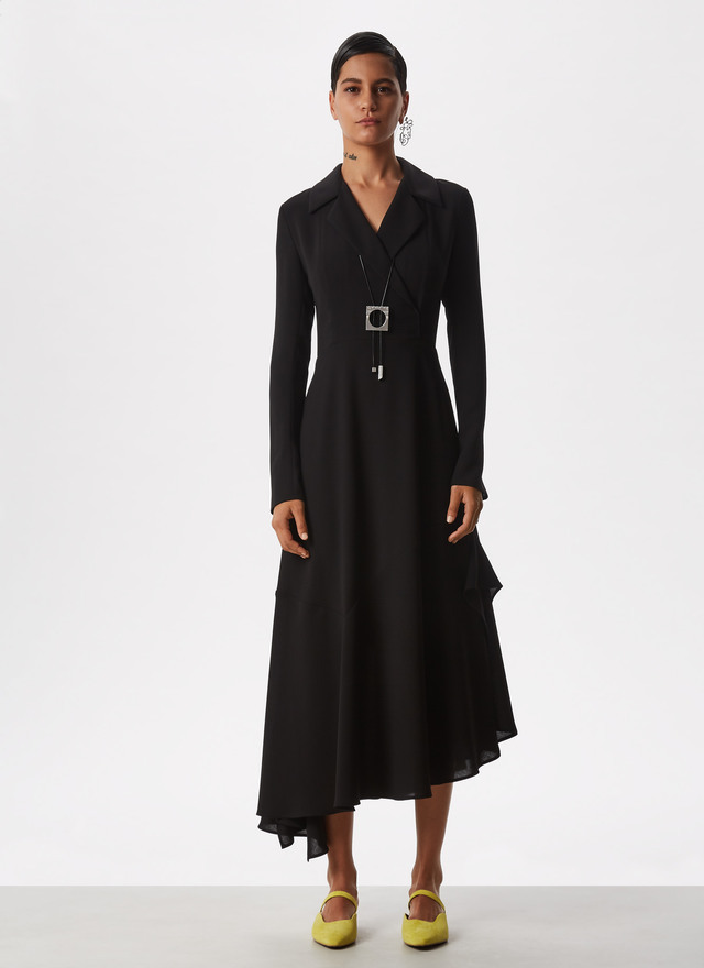 ASYMMETRIC DRESS WITH NOTCHED LAPELS