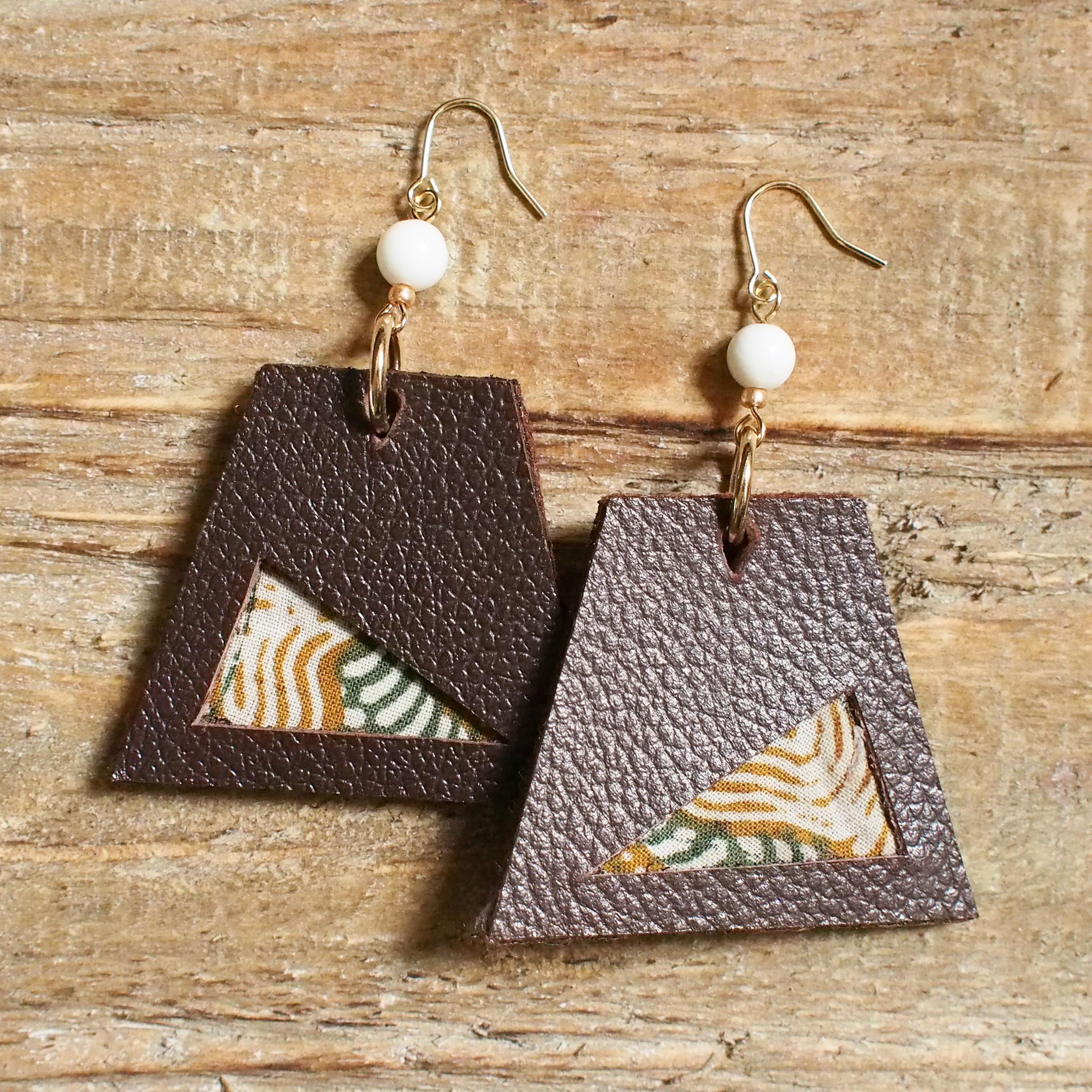 Leather trapezoid Pierce / brown