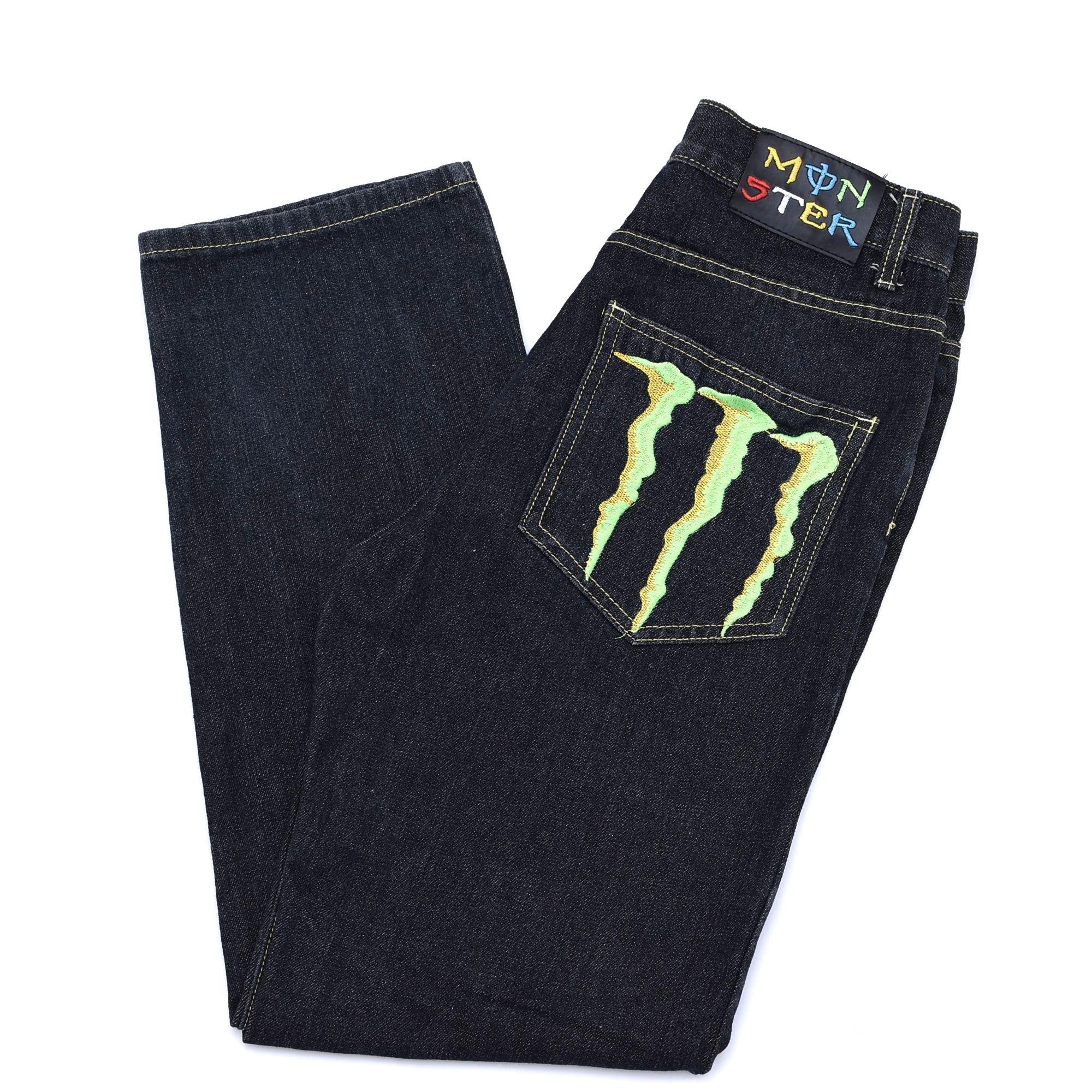 MONSTER ENERGY embroidery denim pants